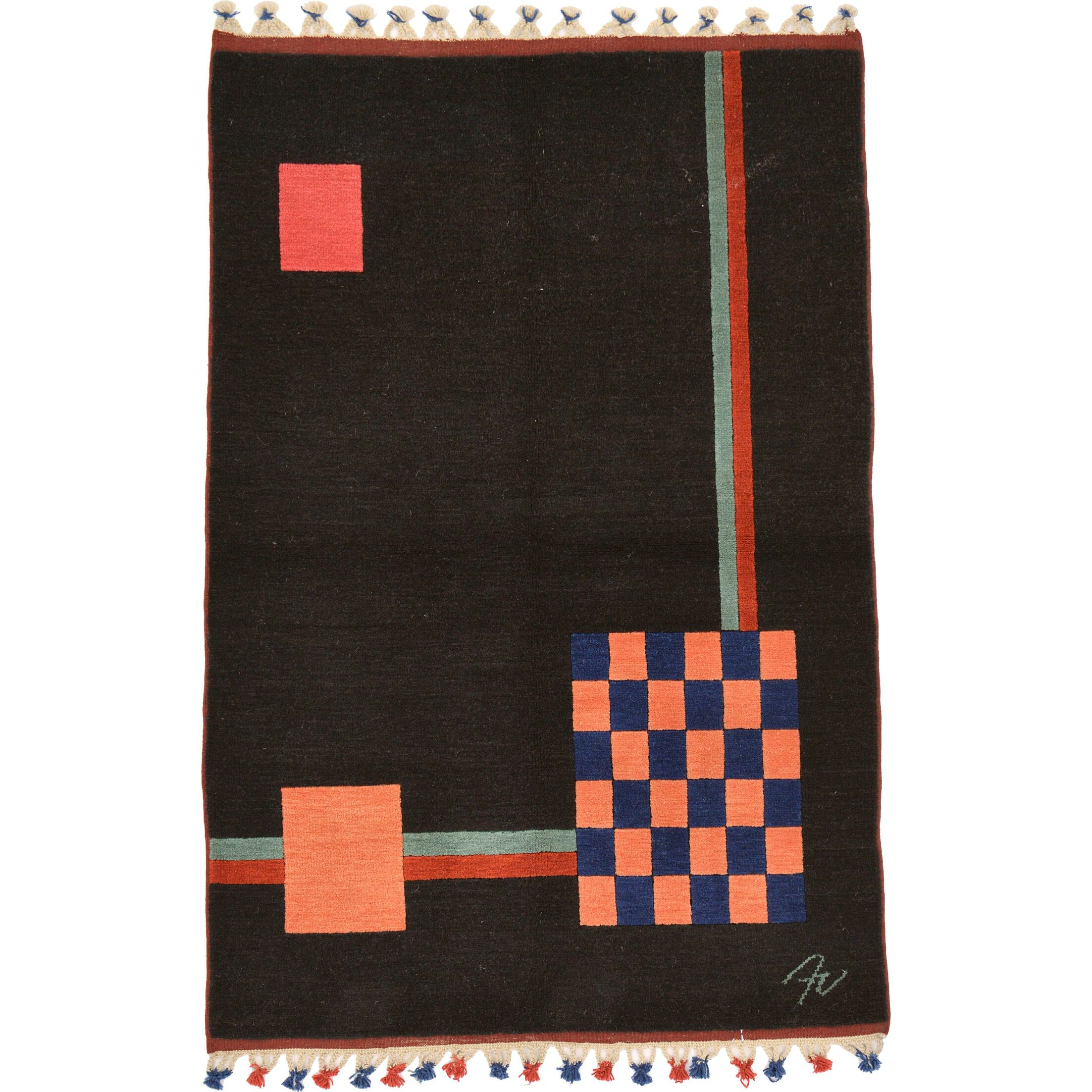 One-of-a-Kind Avant-Garde Hand-Knotted Wool Black/Orange Area Rug