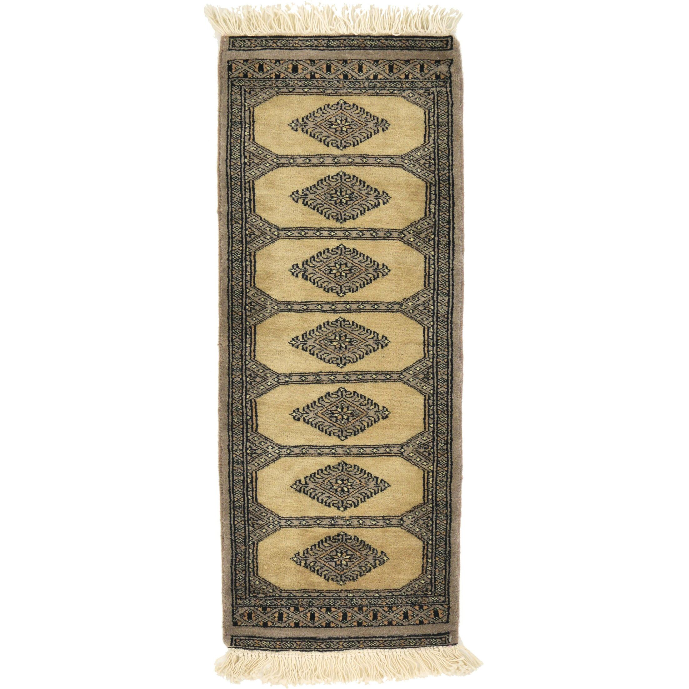 One-of-a-Kind Tekke Hand-Knotted Wool Cream/Black Area Rug