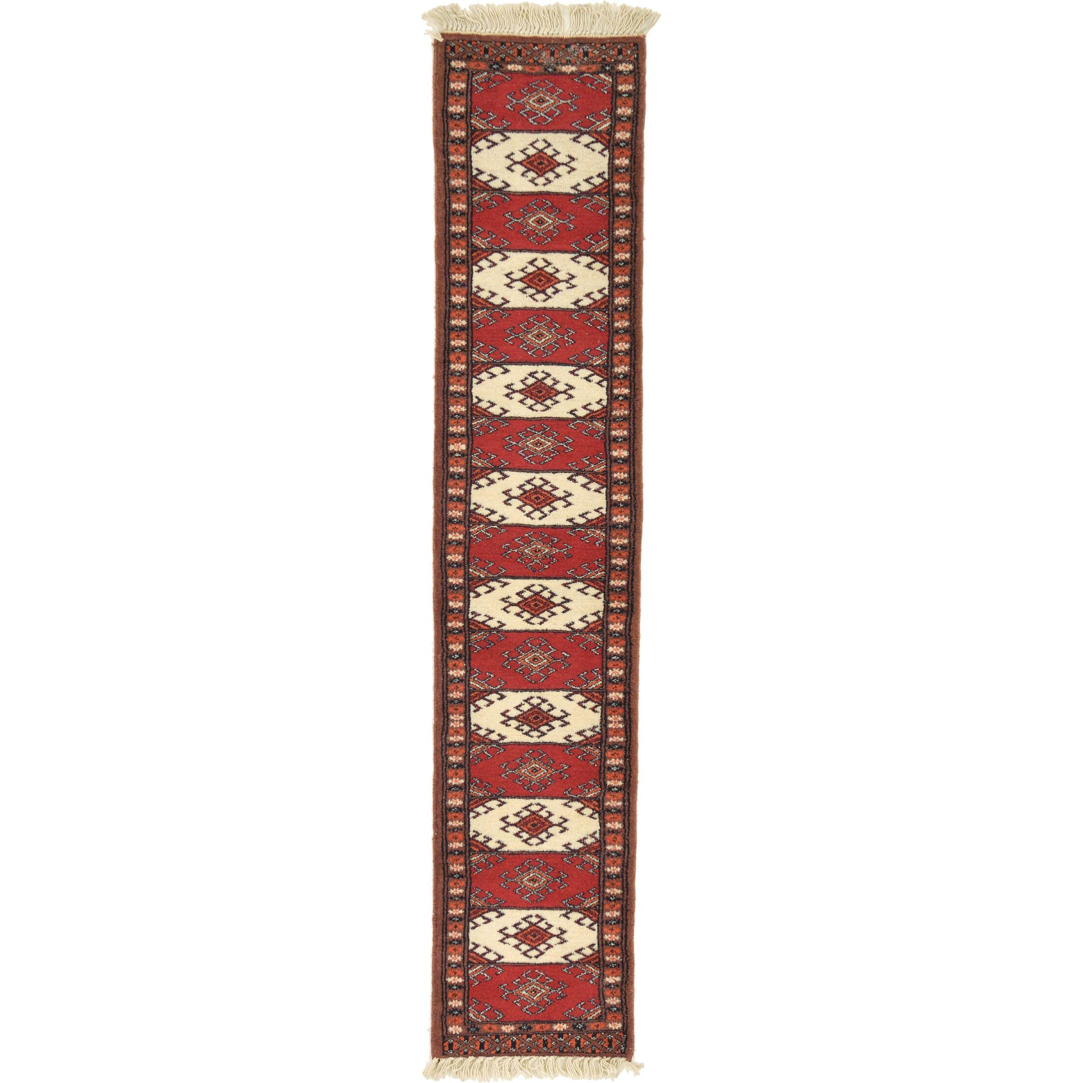 One-of-a-Kind Tekke Hand-Knotted Wool Red/Ivory Area Rug