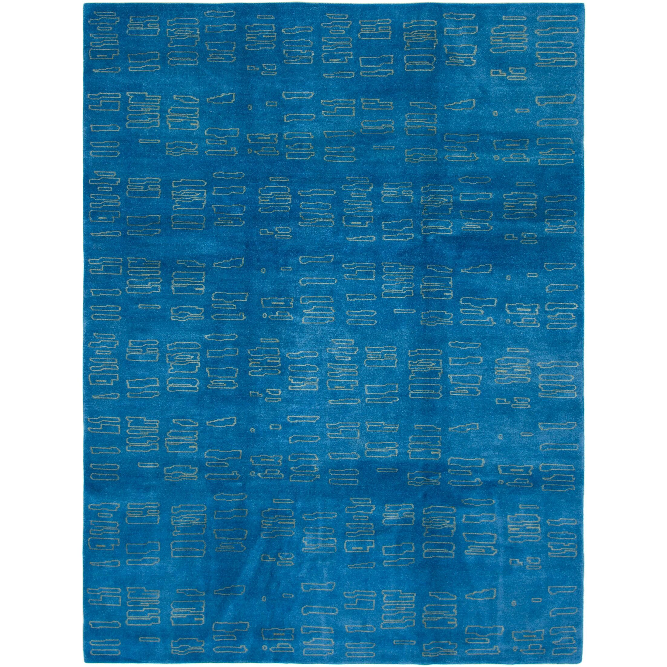 One-of-a-Kind Easton Hand-Knotted Wool Blue Area Rug
