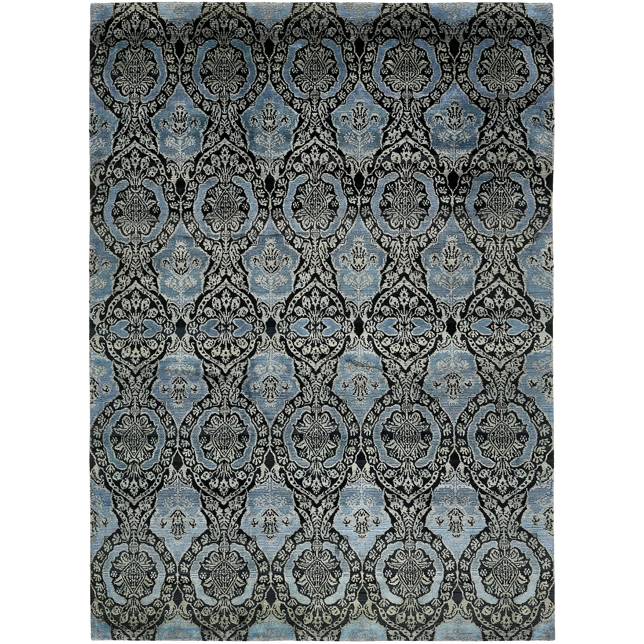 One-of-a-Kind Easton Hand-Knotted Silk Blue/Black Area Rug