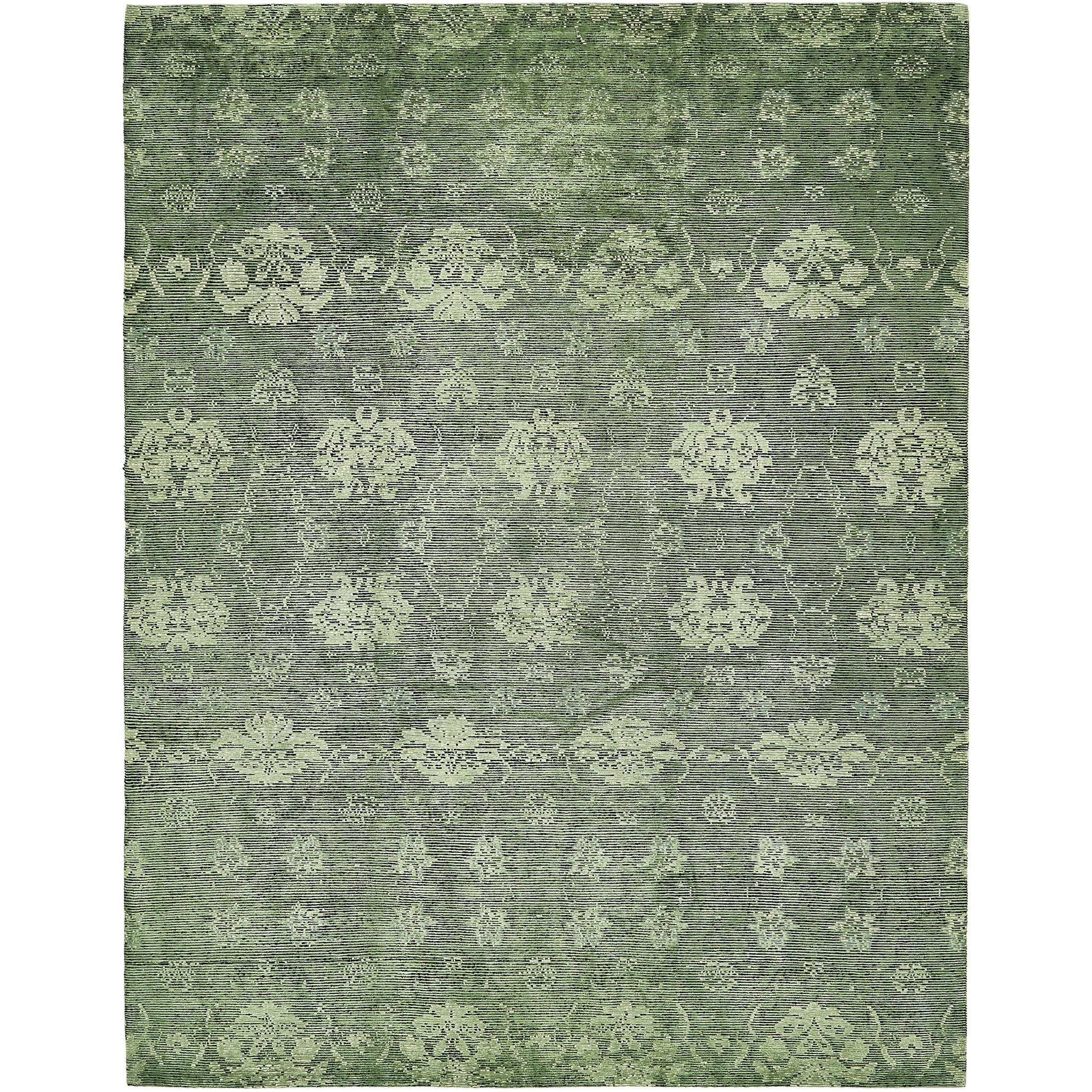 One-of-a-Kind Easton Hand-Knotted Wool/Silk Green Area Rug