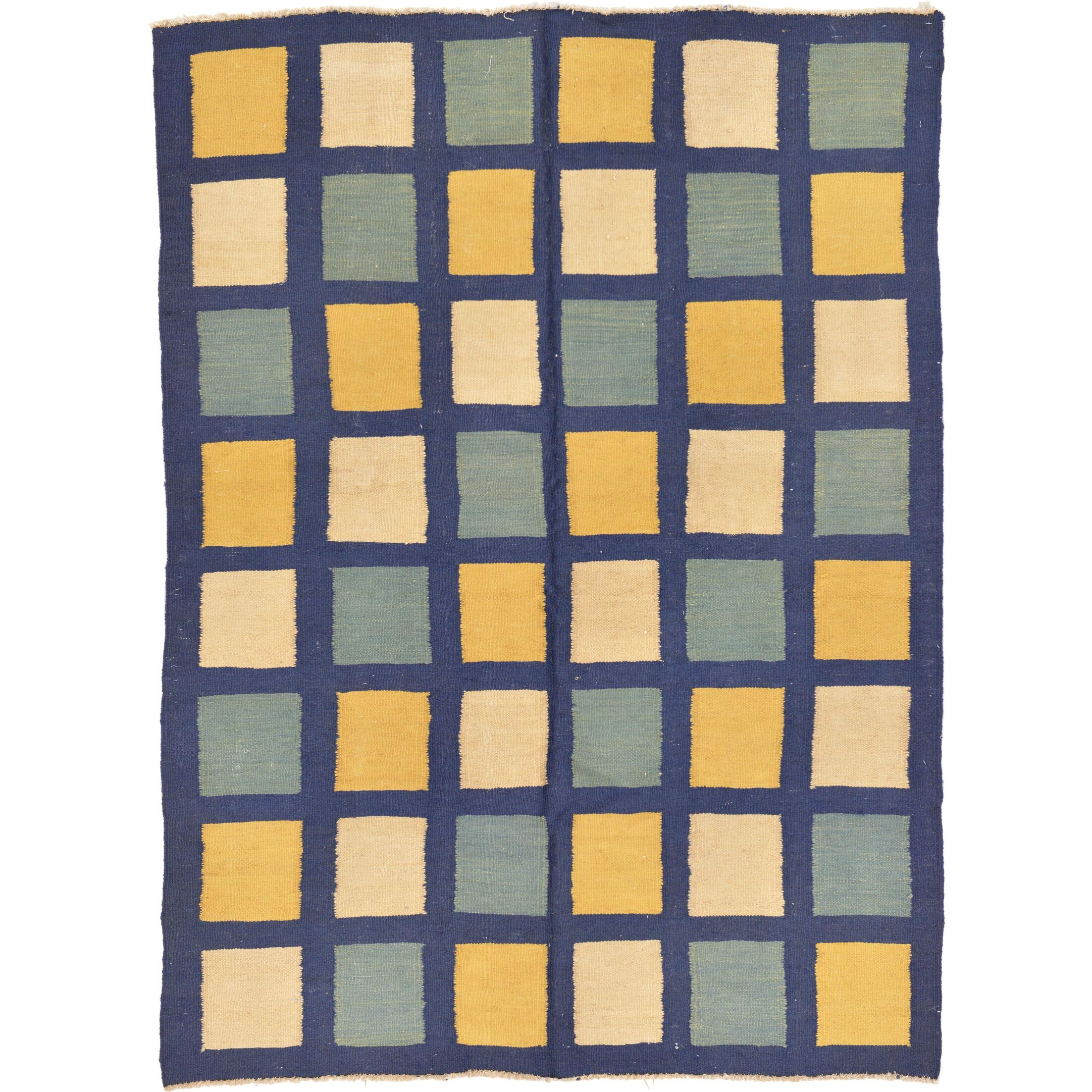 One-of-a-Kind Dora Hand-Knotted Wool Navy Blue/White/Yellow Area Rug