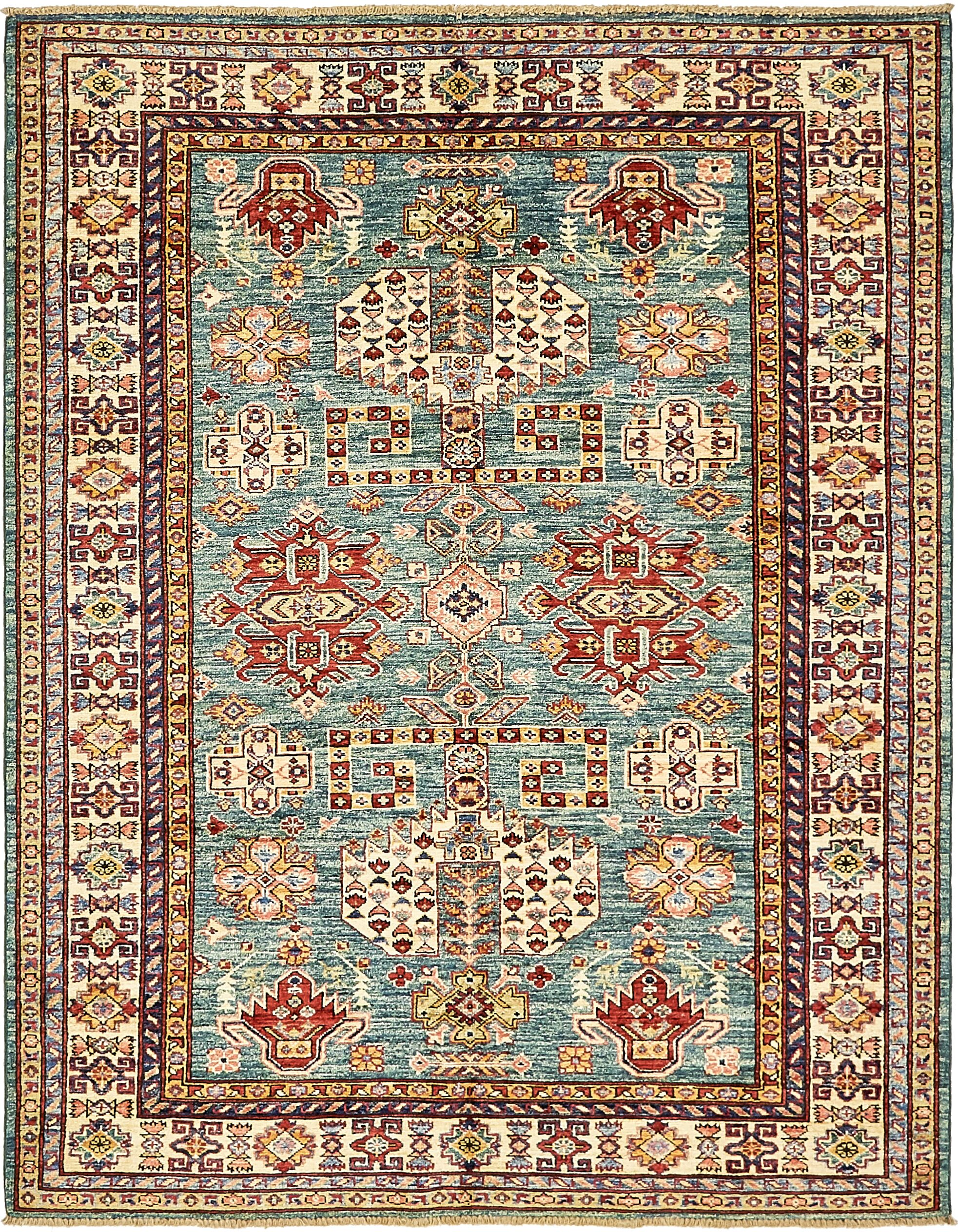 One-of-a-Kind Alayna Hand-Knotted Wool Blue/Beige/Red Area Rug