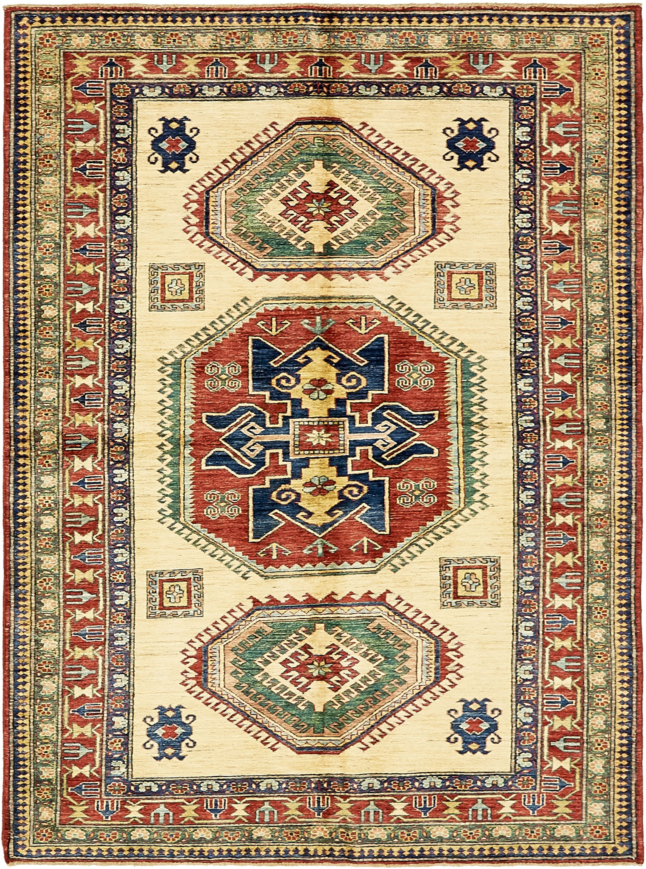 One-of-a-Kind Alayna Hand-Knotted Wool Beige/Red/Green Area Rug