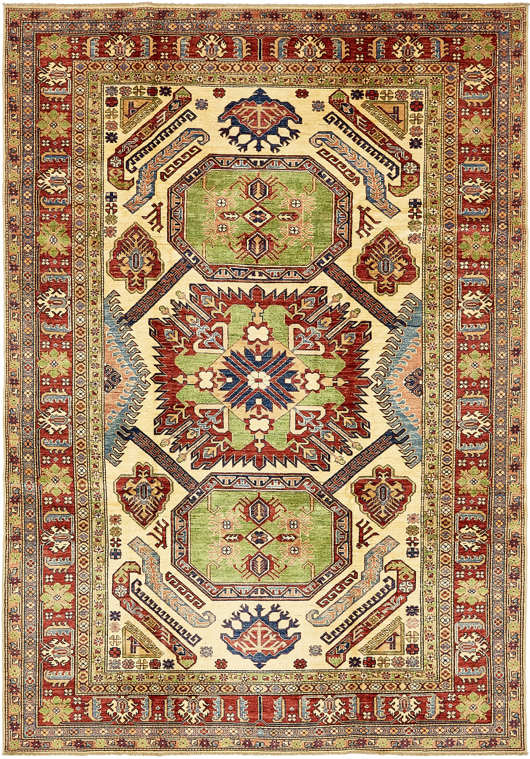 One-of-a-Kind Alayna Hand-Knotted Wool Green/Brown/Beige Area Rug