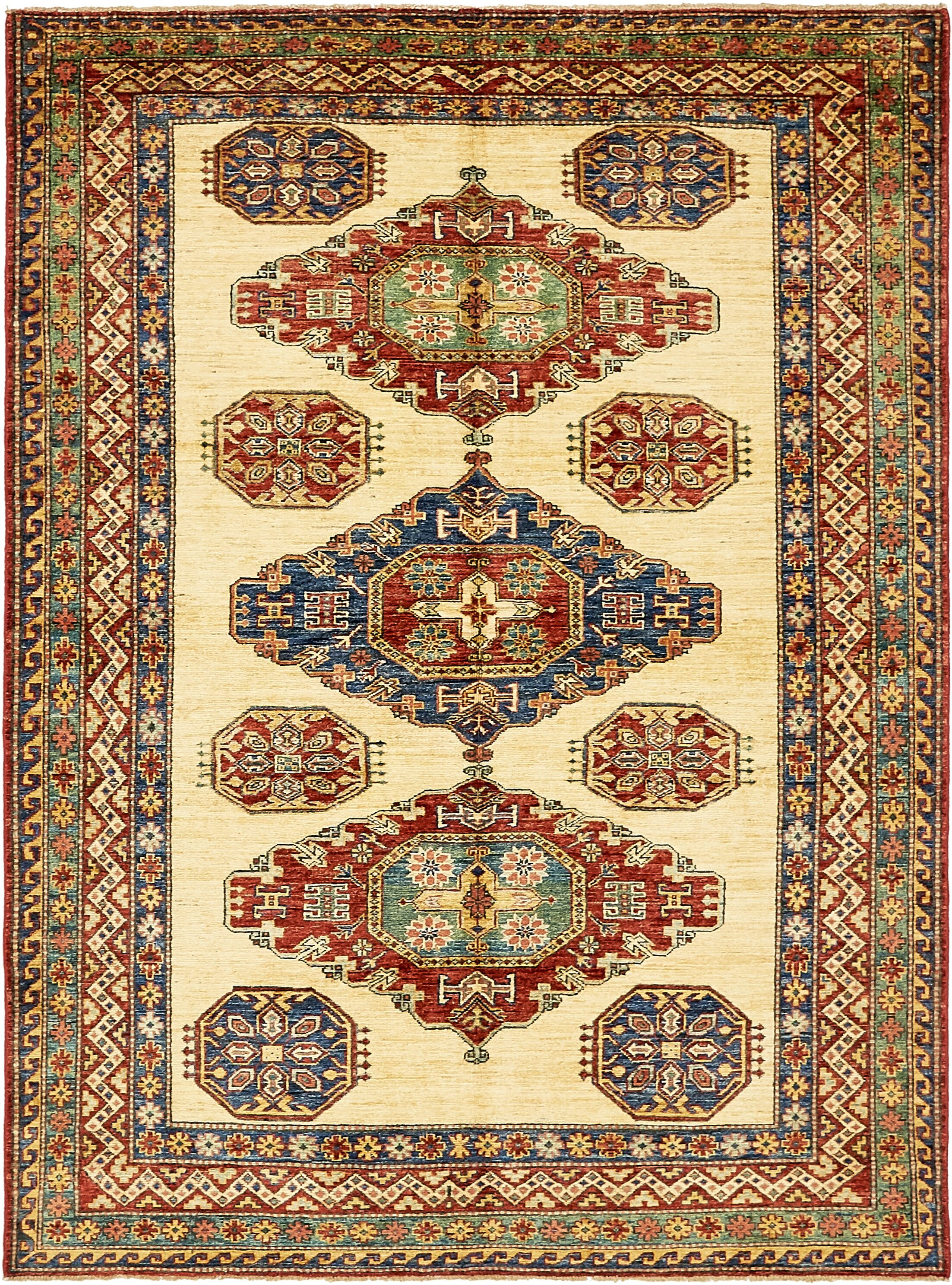 One-of-a-Kind Alayna Hand-Knotted Wool Beige/Red/Blue Area Rug
