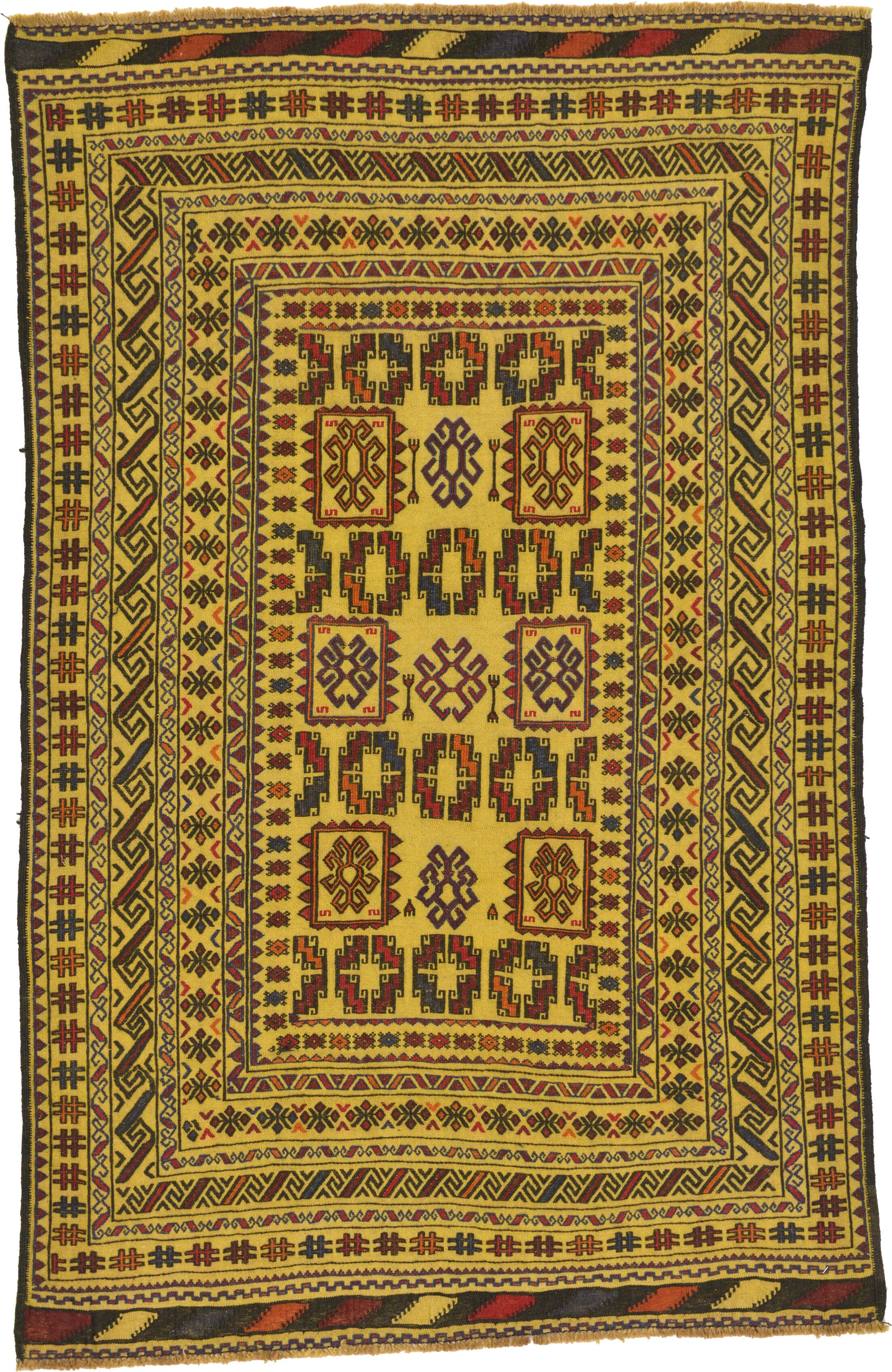 One-of-a-Kind Warminster Hand-Knotted Wool Yellow/Red Area Rug
