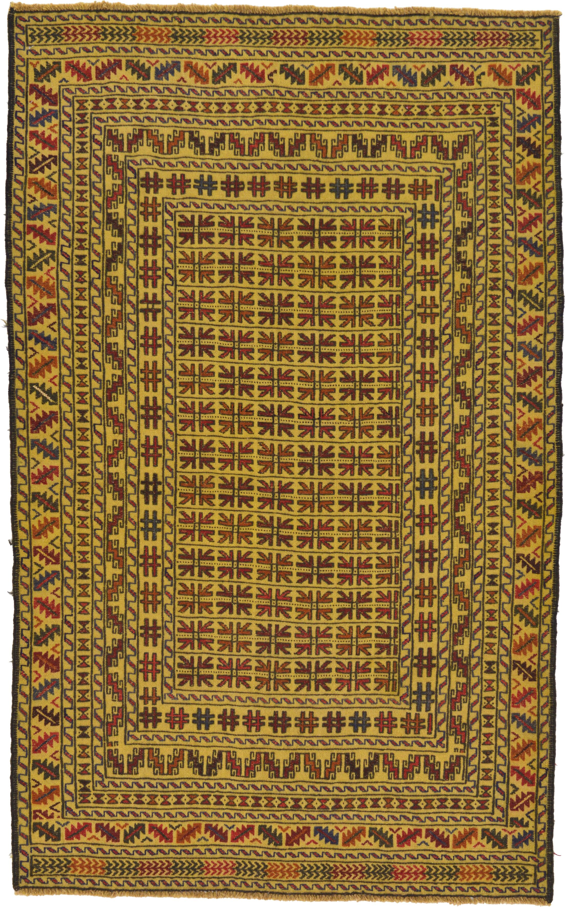 One-of-a-Kind Warminster Hand-Knotted Wool Yellow/Red/Brown Area Rug
