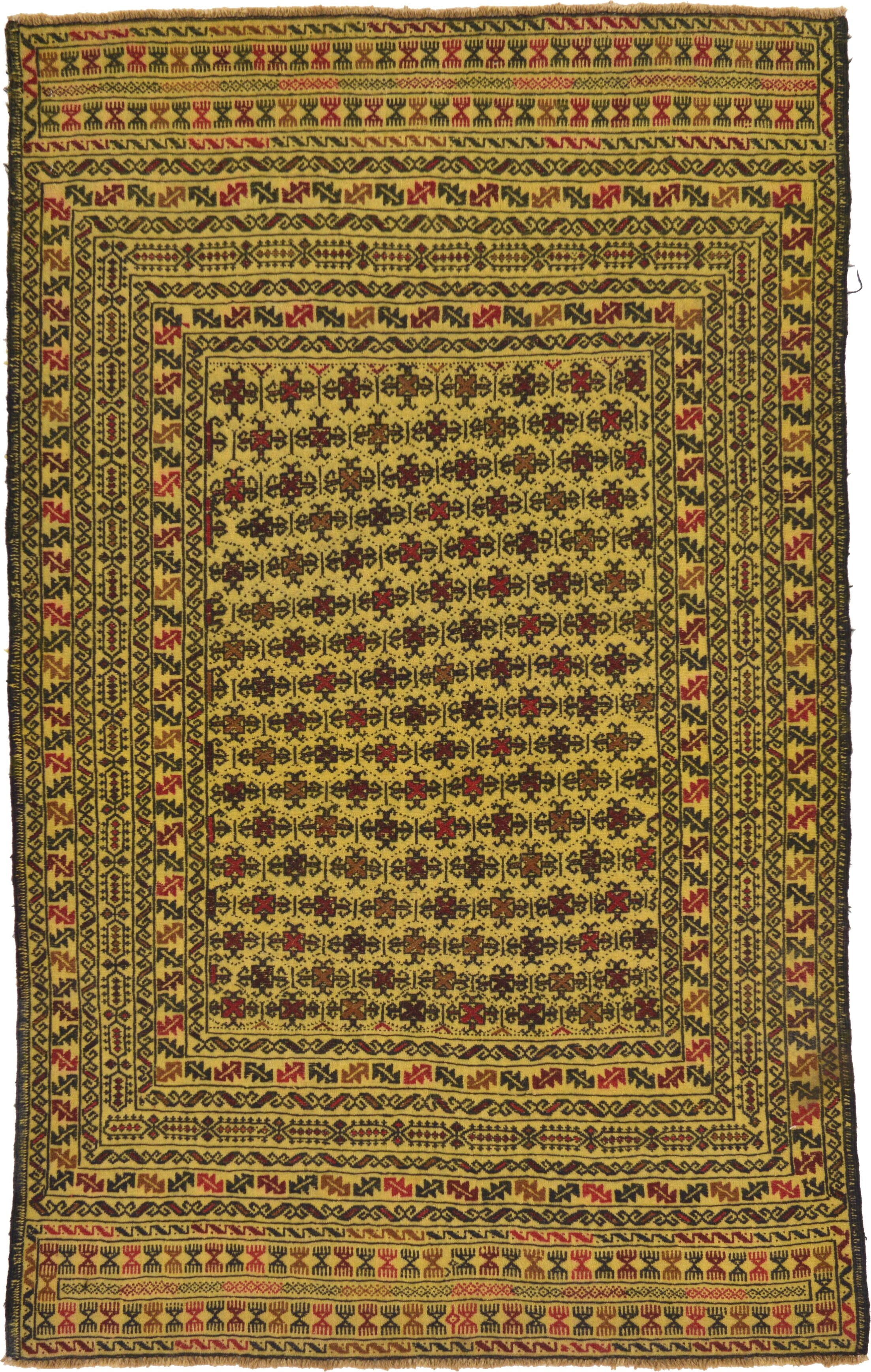One-of-a-Kind Warminster Hand-Knotted Wool Green/Red/Yellow Area Rug