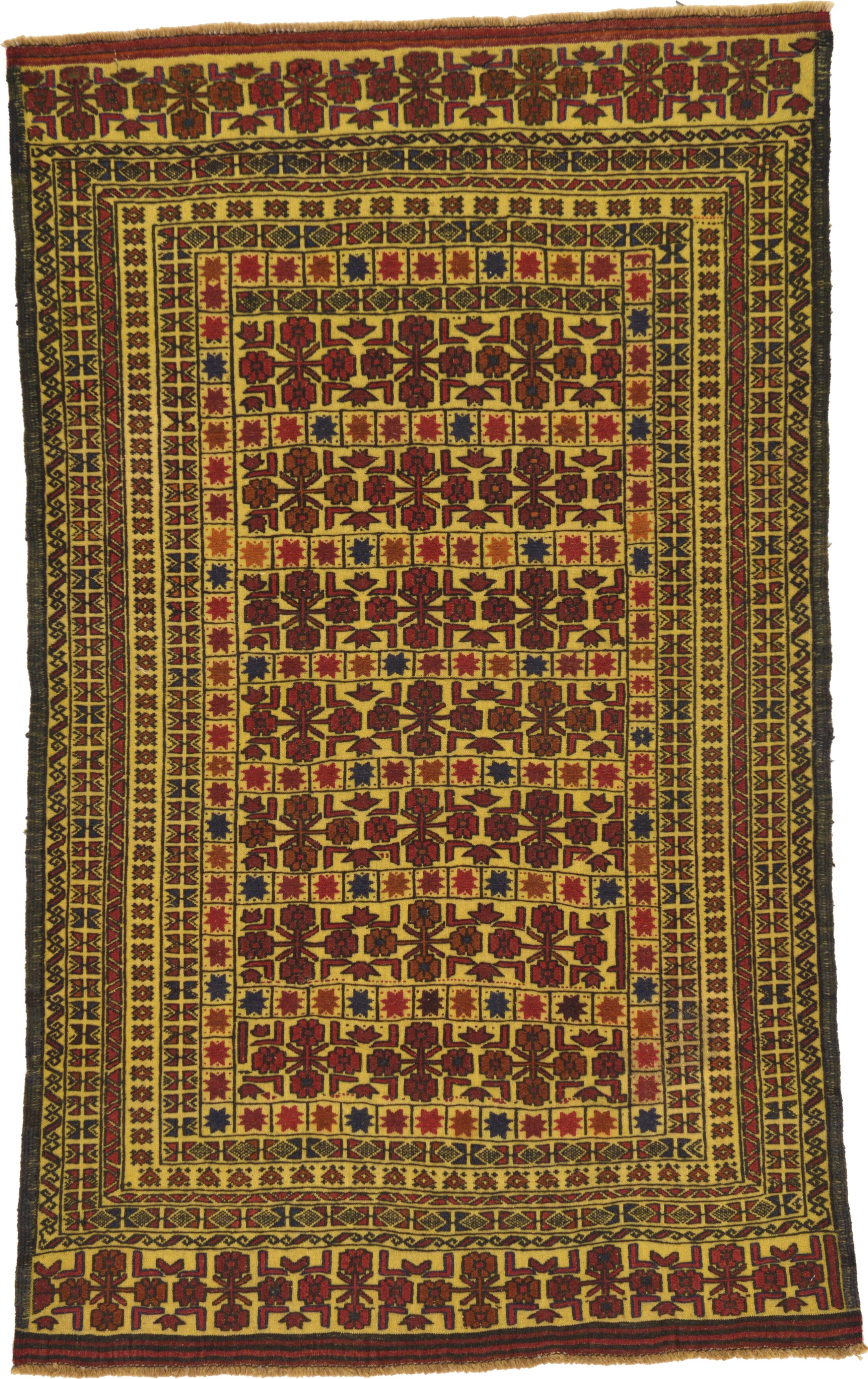 One-of-a-Kind Warminster Hand-Knotted Wool Green/Brown/Yellow Area Rug