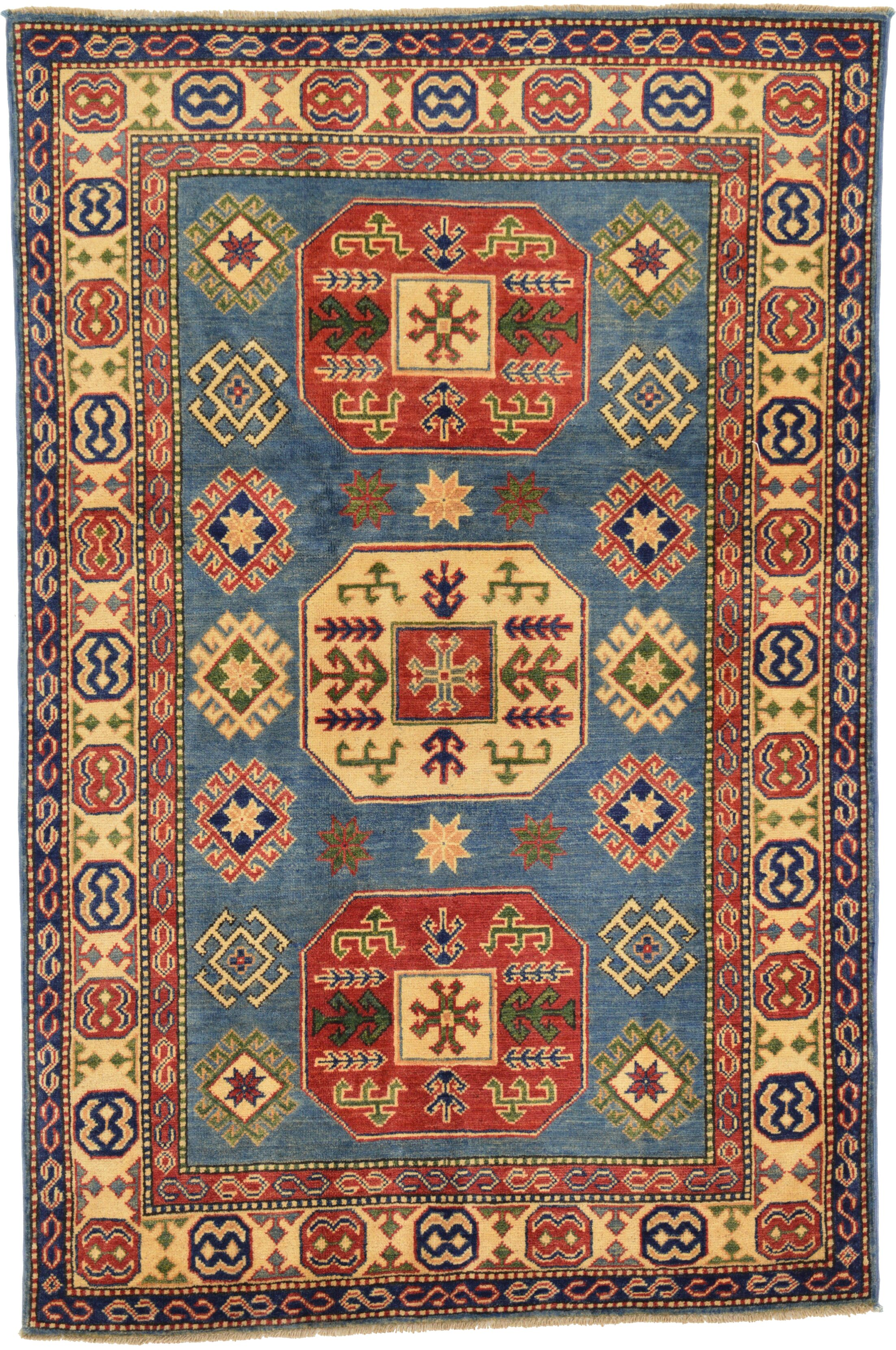 One-of-a-Kind Alayna Hand-Knotted Wool Blue/Red/Beige Area Rug
