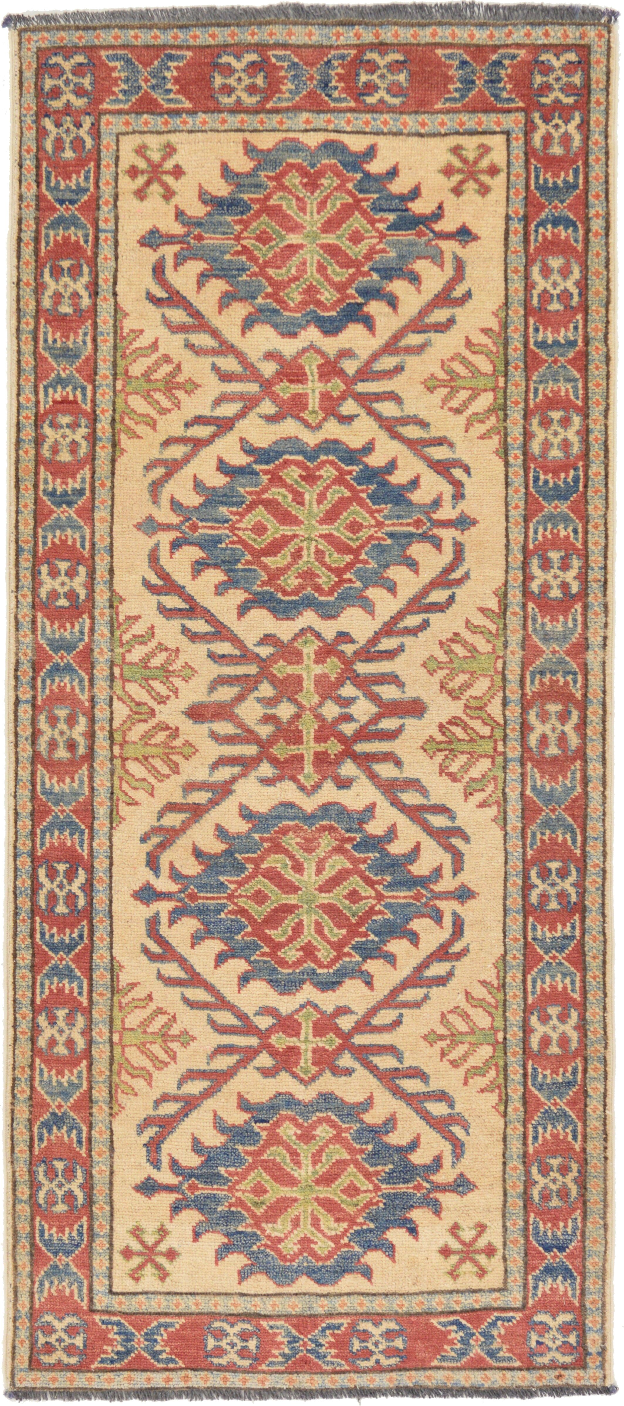 One-of-a-Kind Alayna Hand-Knotted Wool Orange/Beige/Blue Area Rug