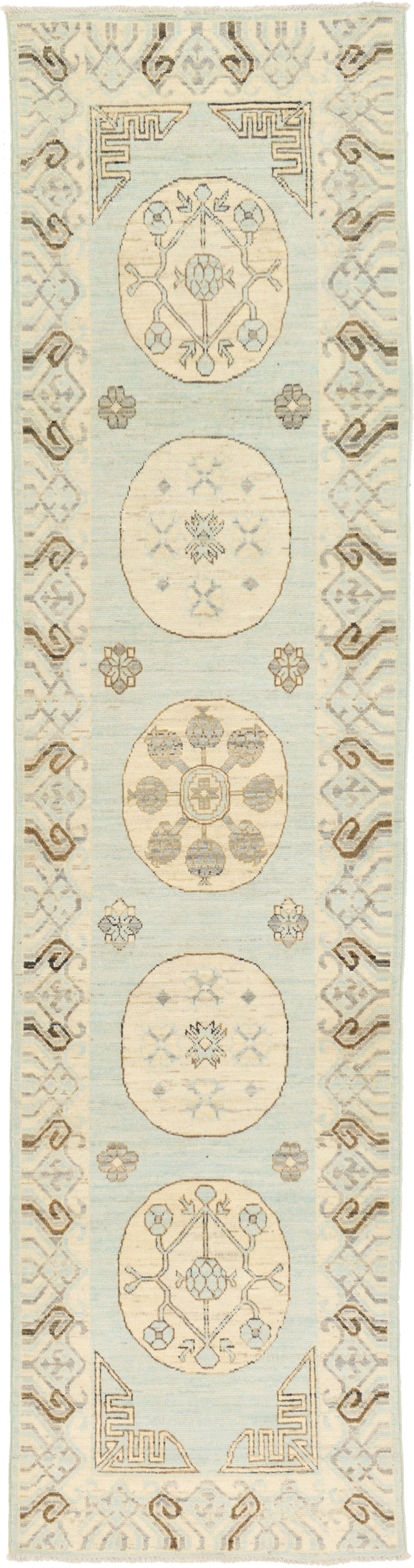 One-of-a-Kind Wareham Hand-Knotted Wool Beige/Blue Area Rug