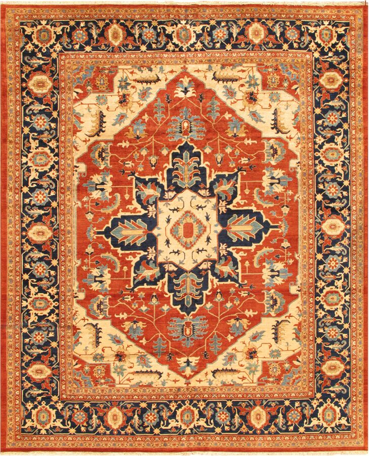 Serapi Hand-Knotted Wool Rust/Camel Area Rug Rug Size: Rectangle 9'10