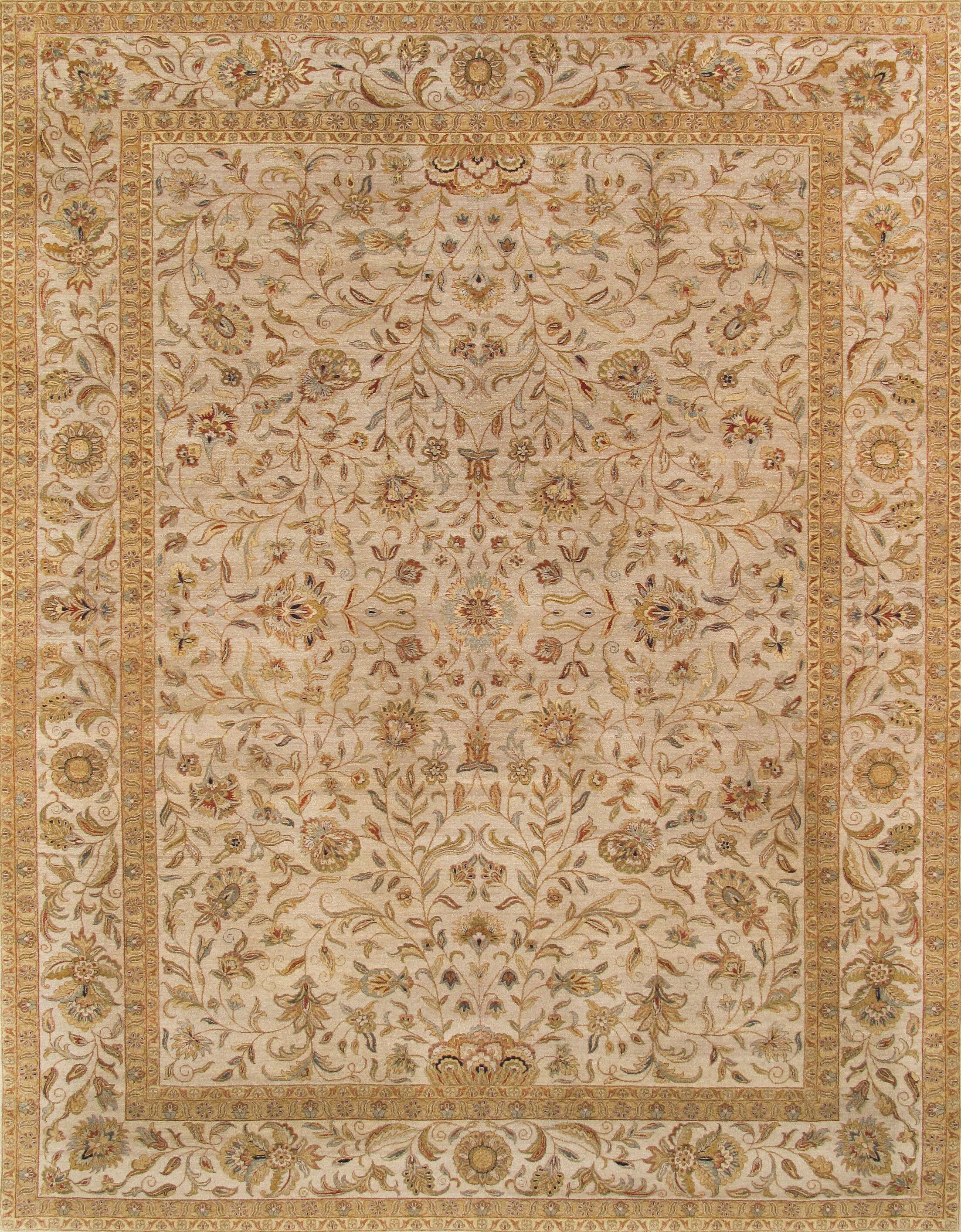 Tabriz Hand-Knotted Wool Brown Area Rug