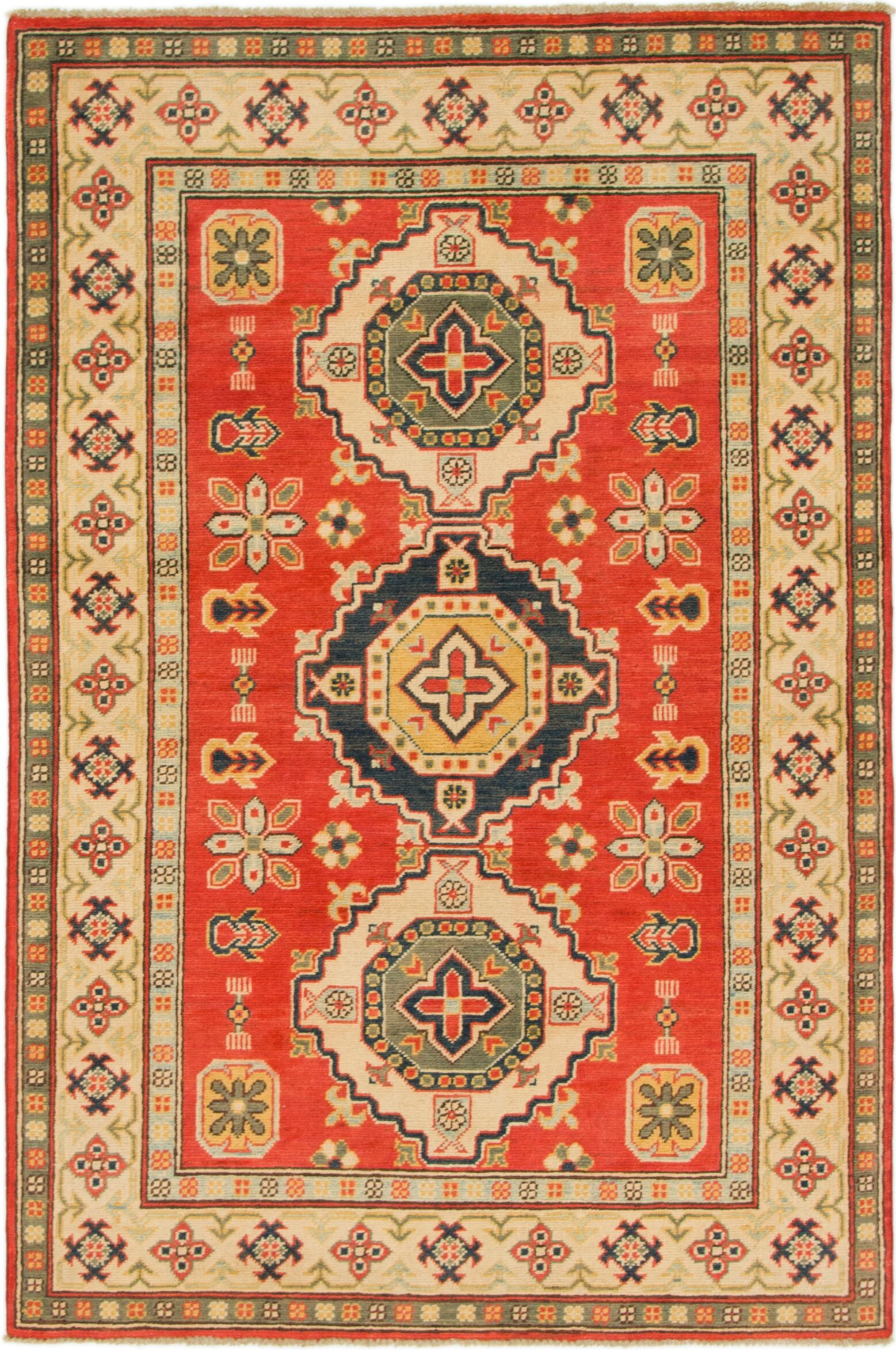 One-of-a-Kind Alayna Hand-Knotted Wool Red/Beige Area Rug