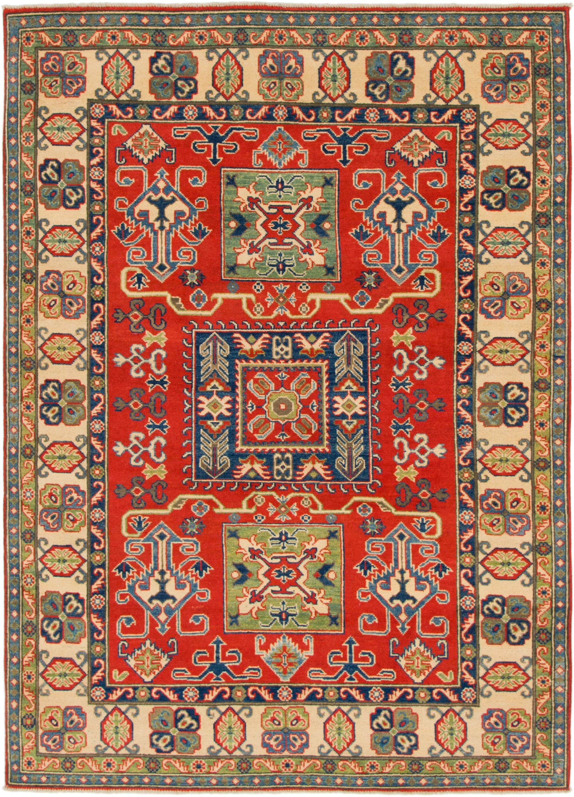 One-of-a-Kind Alayna Hand-Knotted Wool Beige/Red Area Rug