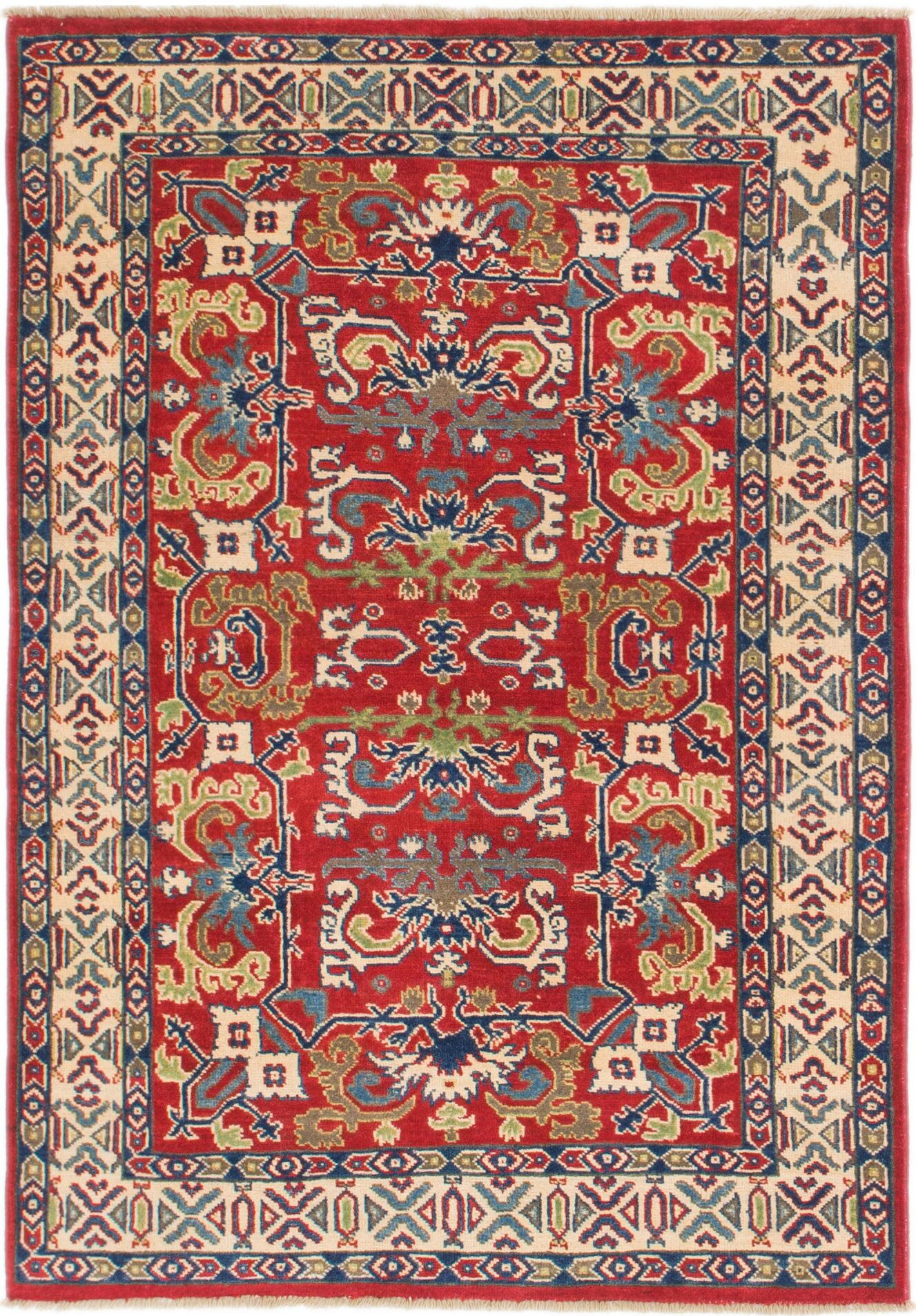 One-of-a-Kind Alayna Hand-Knotted Wool Red/Cream Area Rug