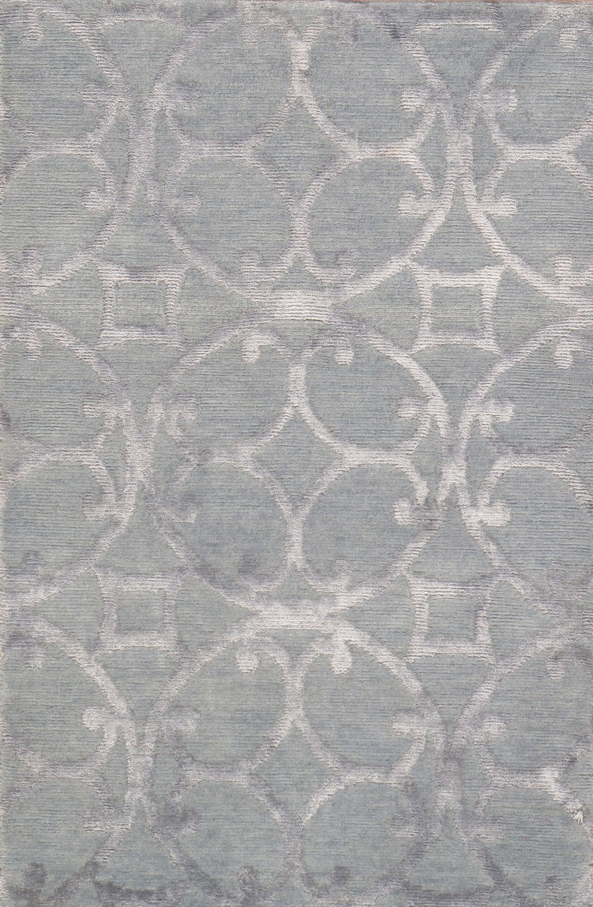 Modern Hand-Knotted Wool/Silk Gray Area Rug