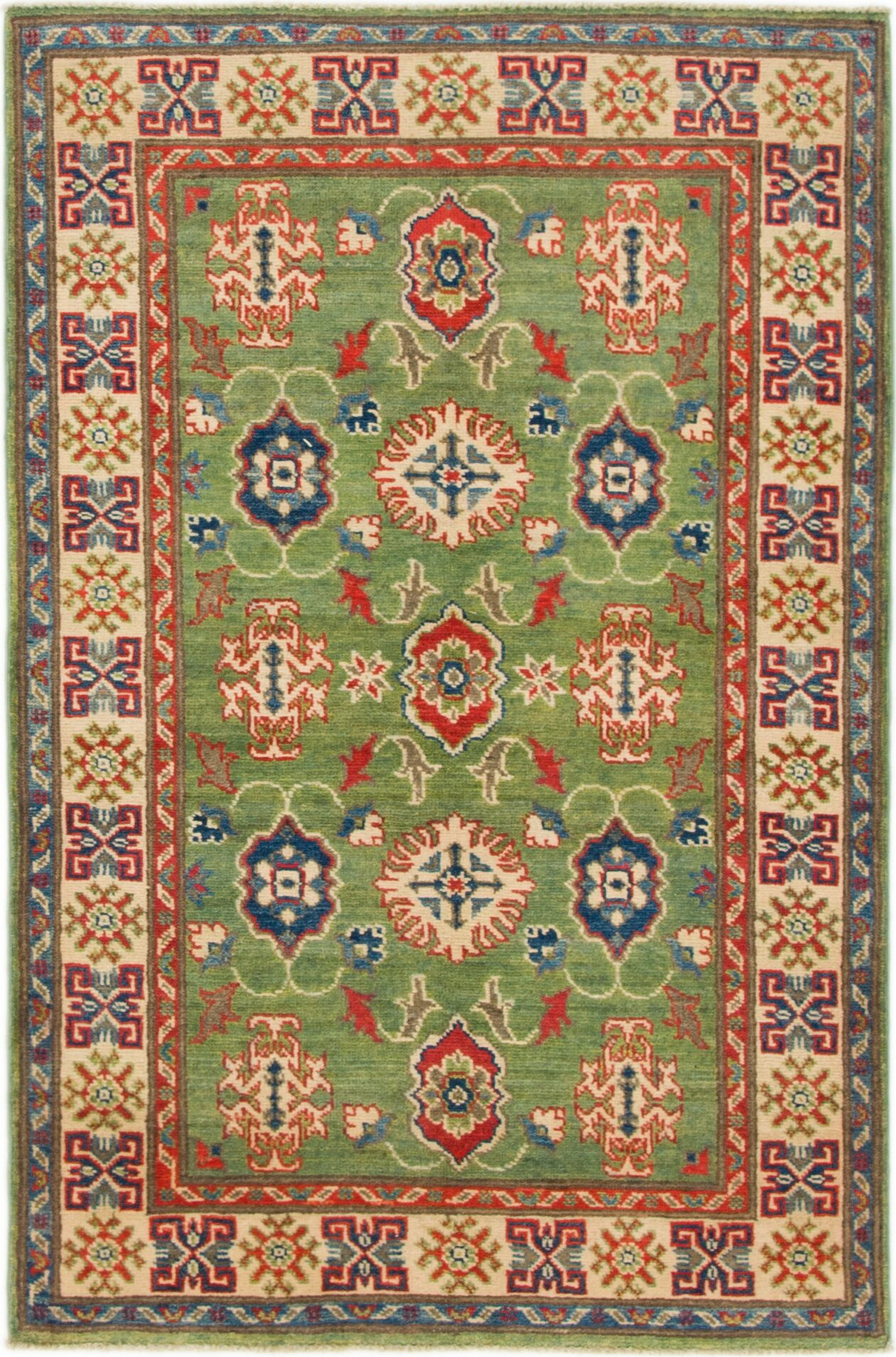 One-of-a-Kind Alayna Hand-Knotted Wool Ivory/Green Area Rug