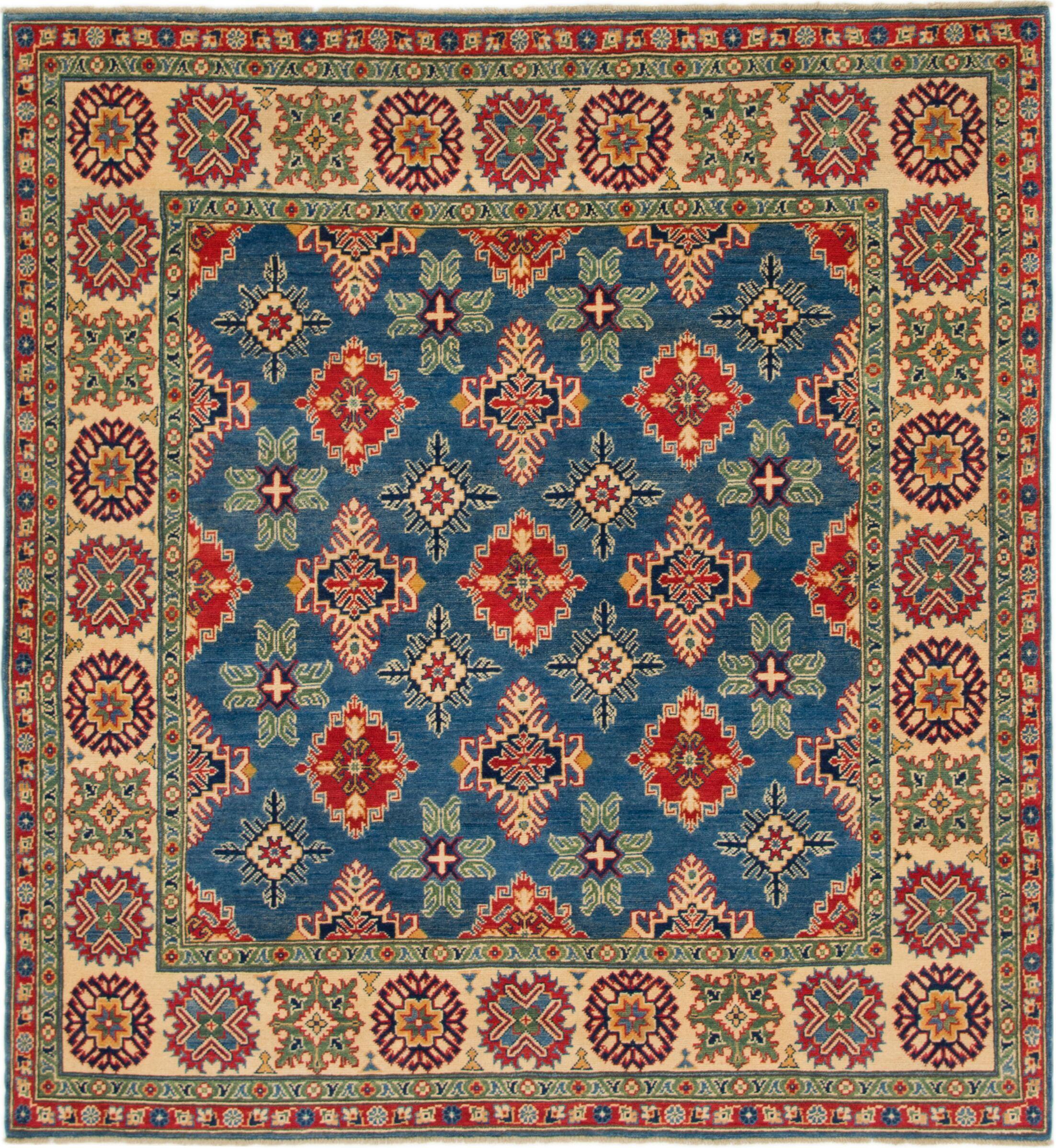 One-of-a-Kind Alayna Hand-Knotted Wool Ivory/Blue Area Rug