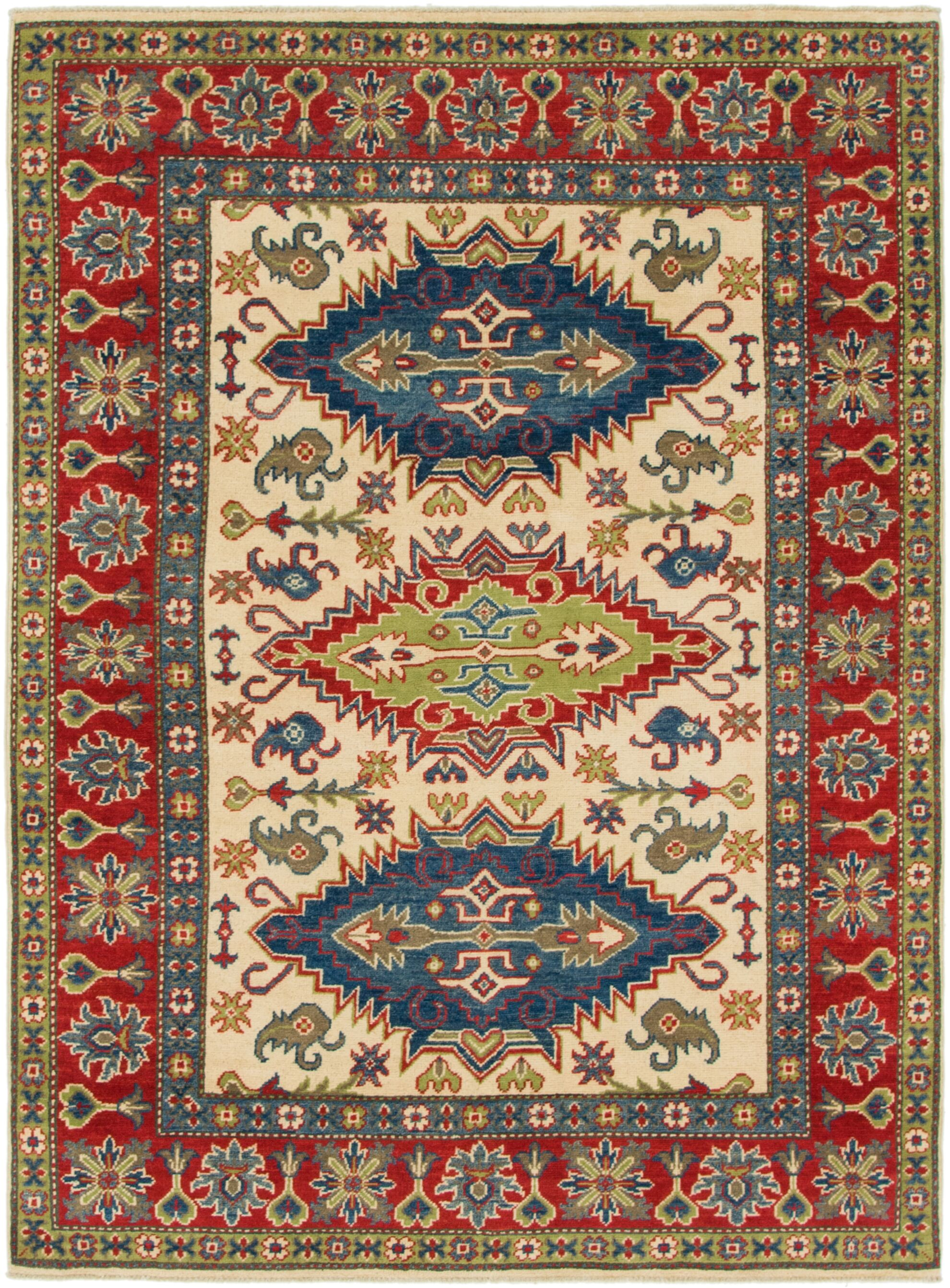 One-of-a-Kind Alayna Hand-Knotted Wool Ivory/Red/Blue Area Rug