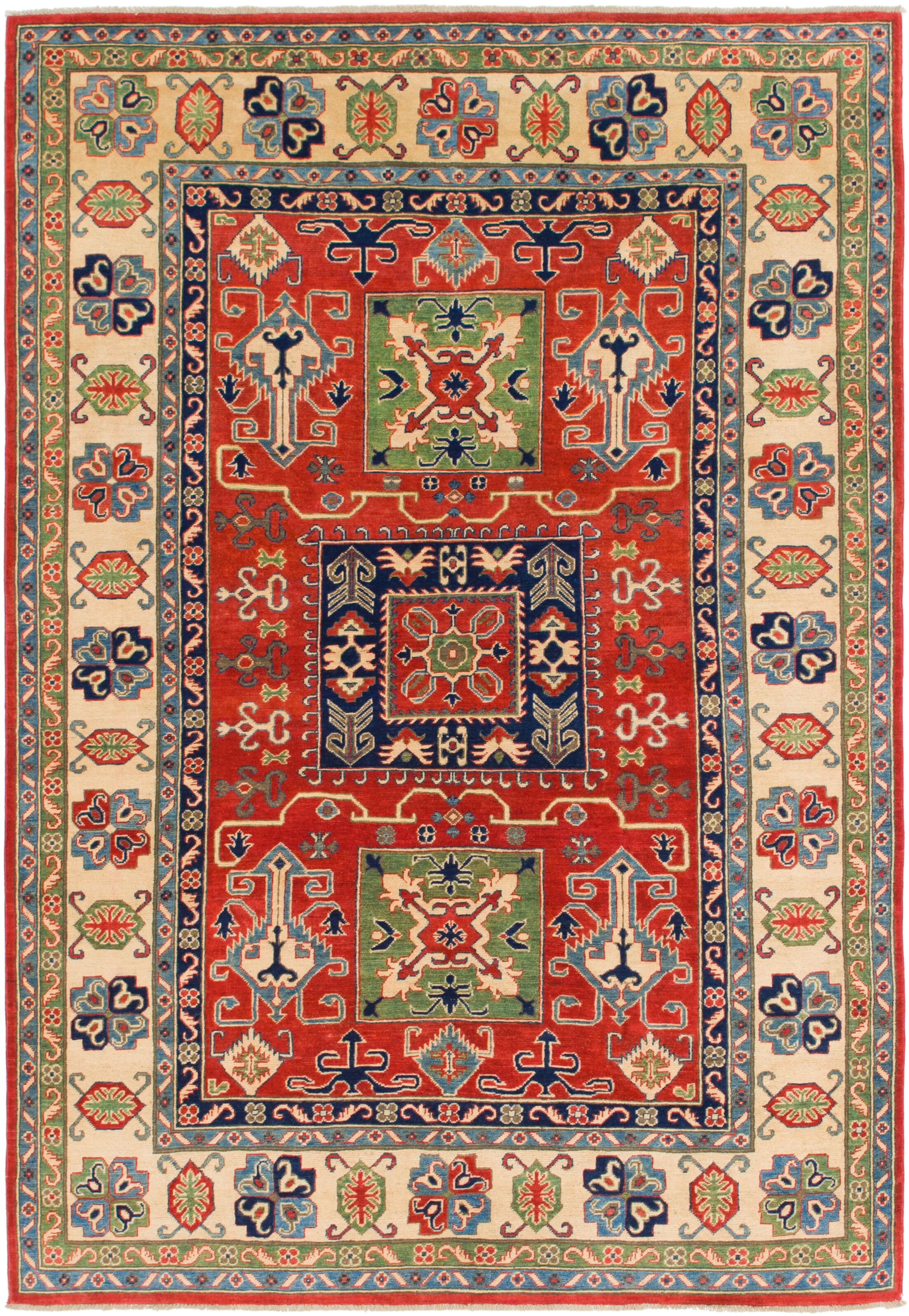 One-of-a-Kind Alayna Hand-Knotted Wool Red/BeigeArea Rug