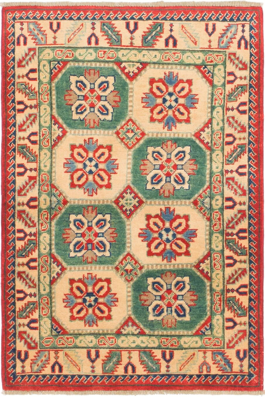 One-of-a-Kind Alayna Hand-Knotted Wool Cream/Green Area Rug