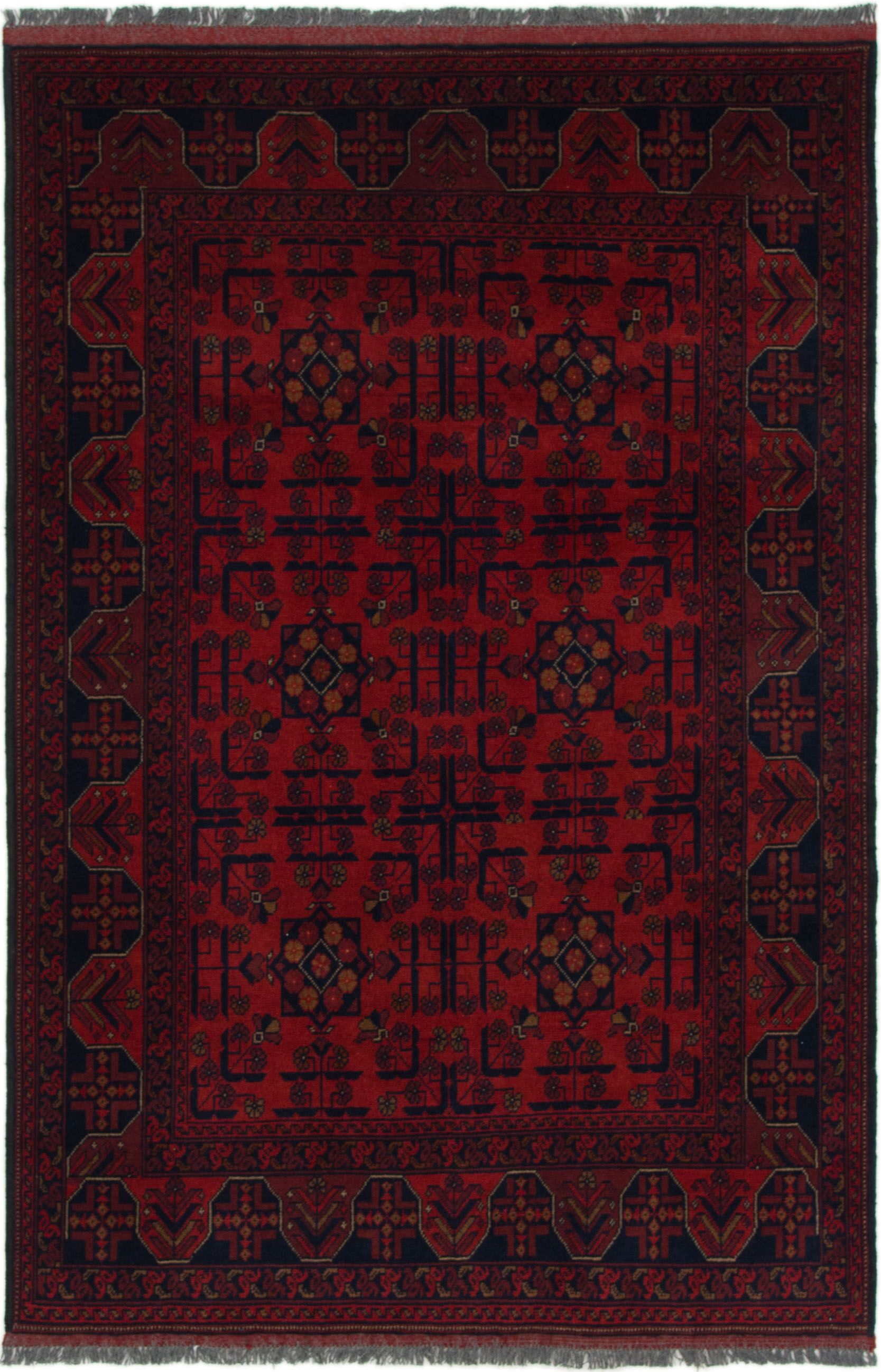 One-of-a-Kind Auxvasse Hand-Knotted Wool Red/Black Area Rug