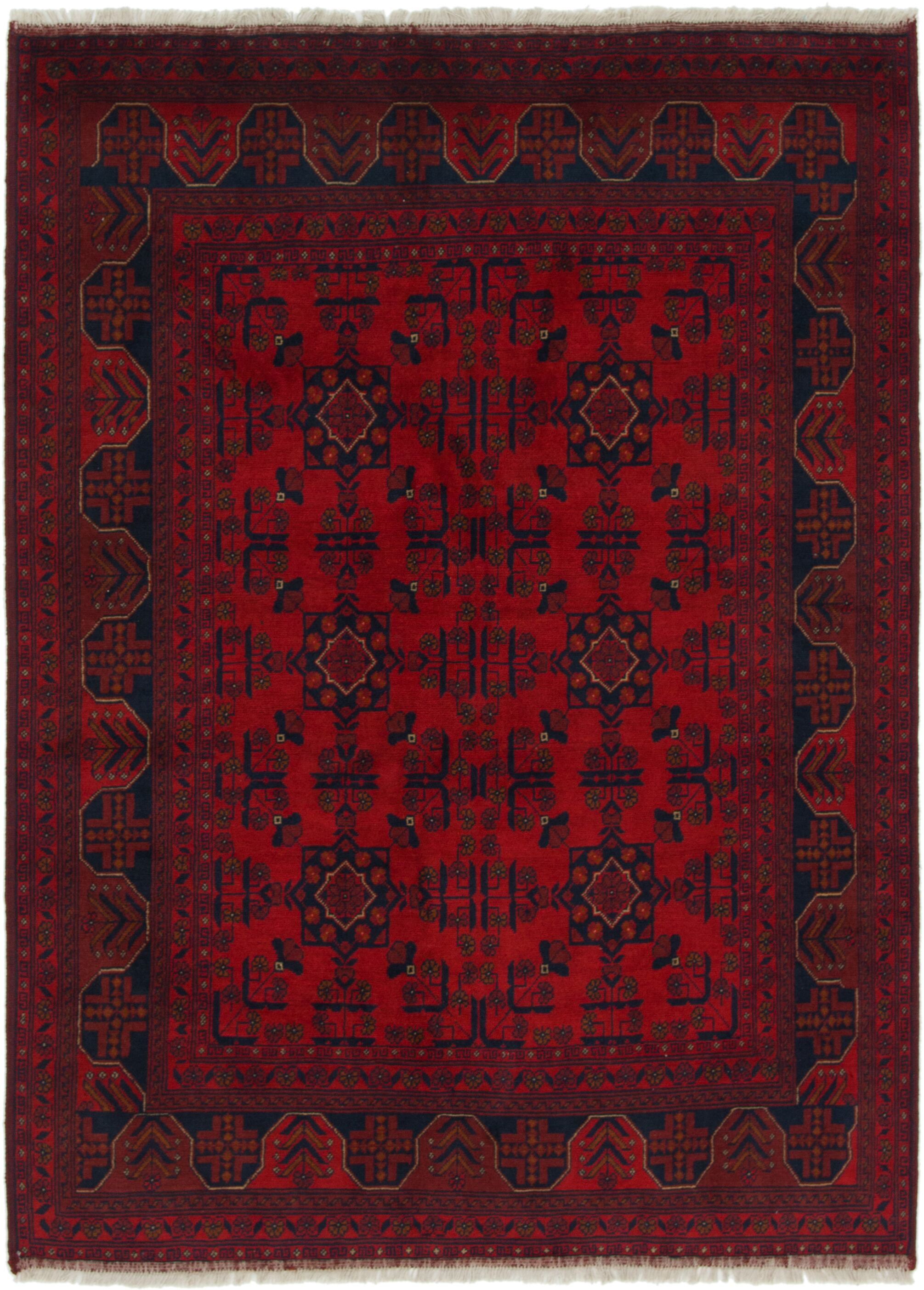 One-of-a-Kind Auxvasse Hand-Knotted Wool Red/Blue Area Rug