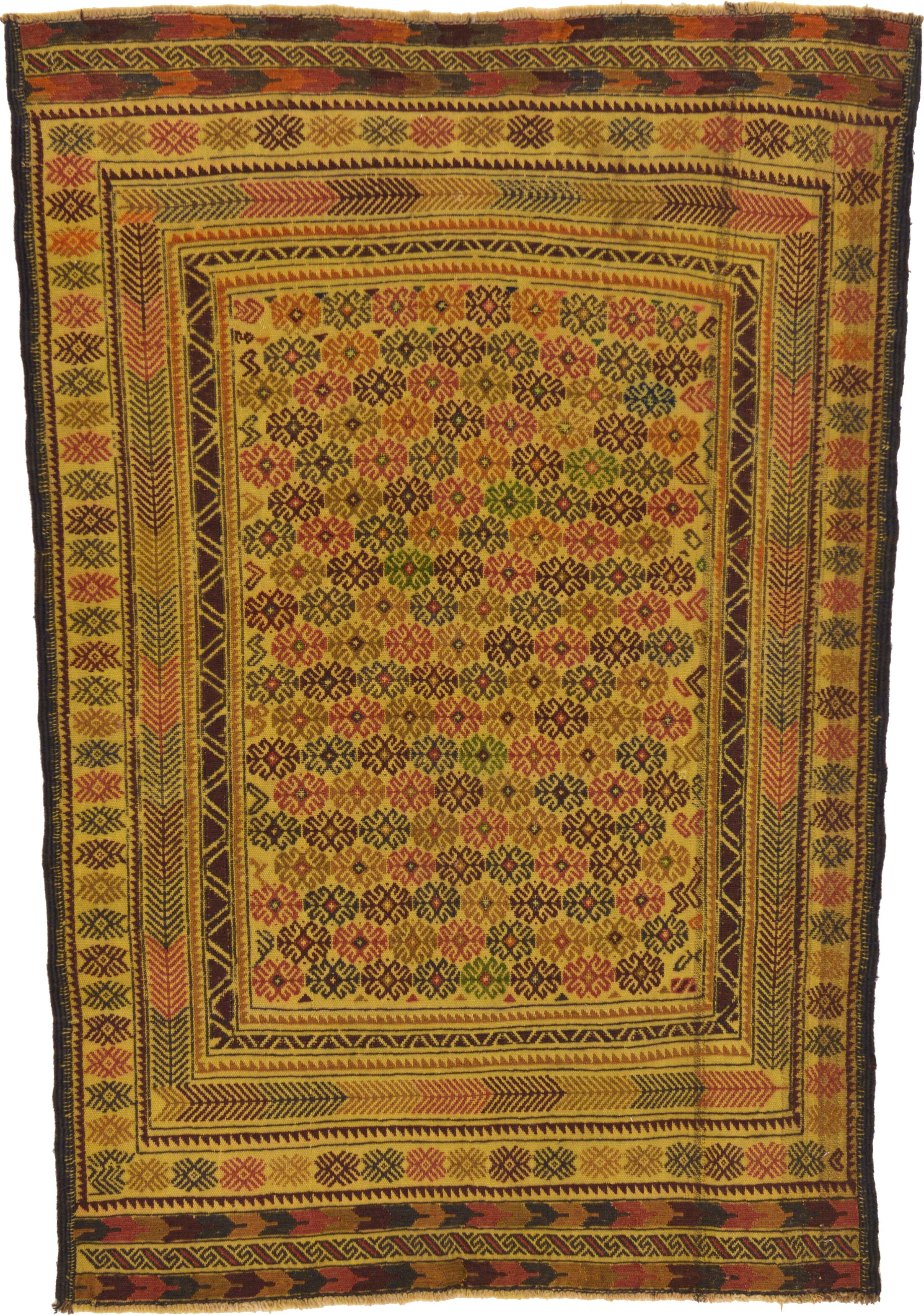 One-of-a-Kind Warminster Hand-Knotted 4'2