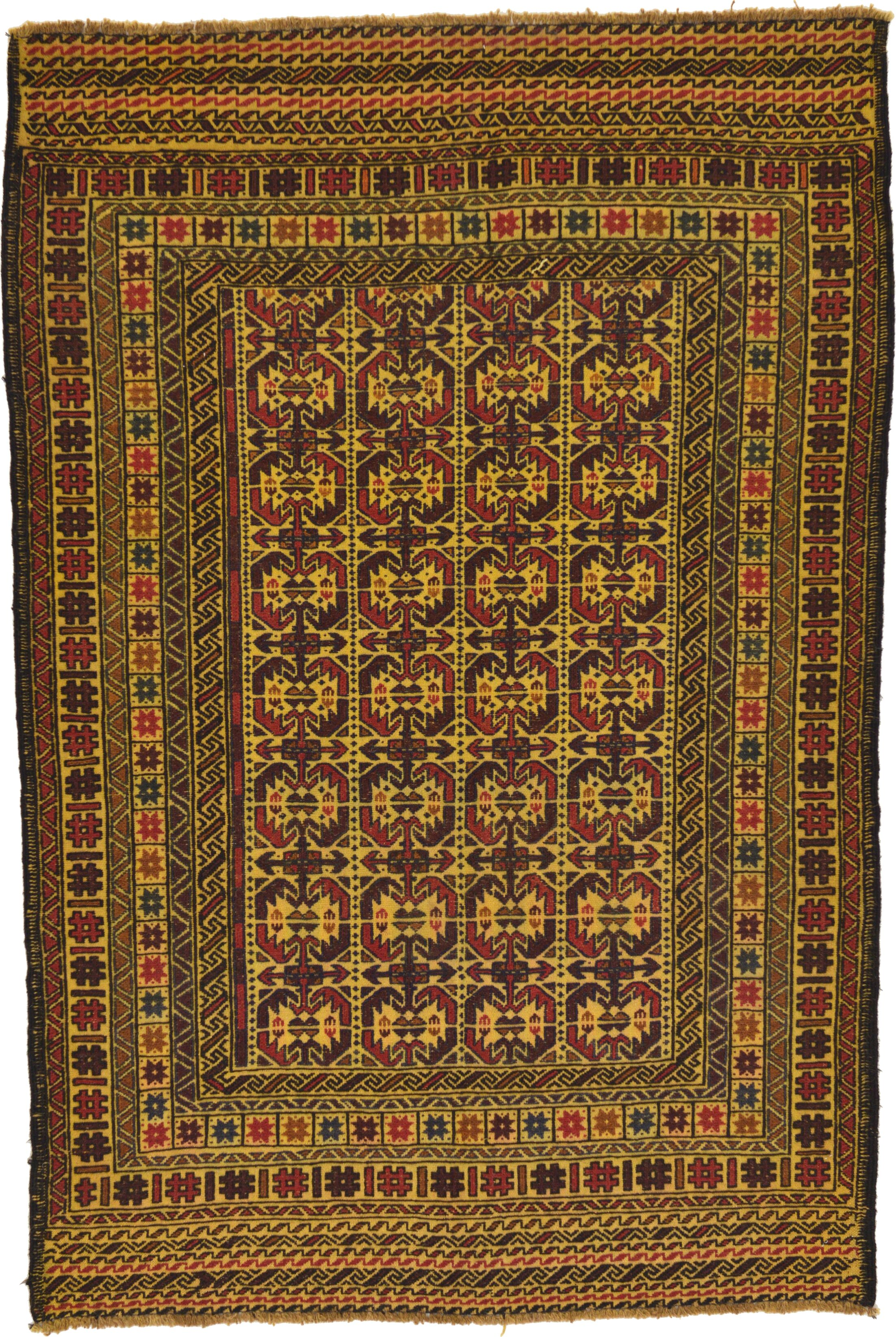 One-of-a-Kind Warminster Hand-Knotted 4' x 6' Wool Gold/Red/Black Area Rug