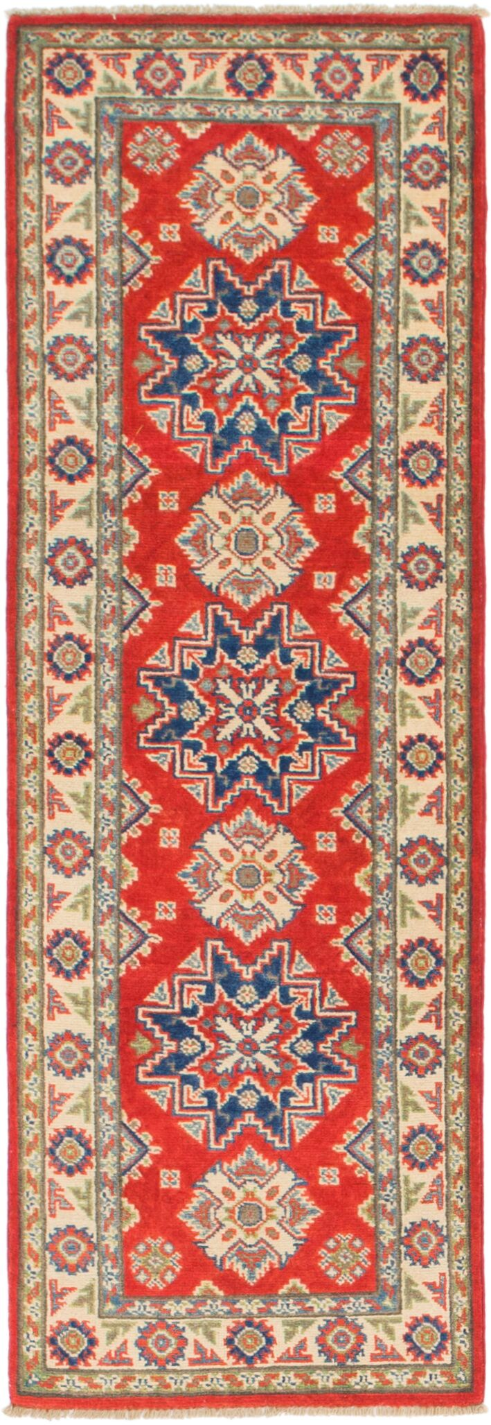 One-of-a-Kind Alayna Hand-Knotted 2' x 6' Wool Red/Beige/Blue Area Rug