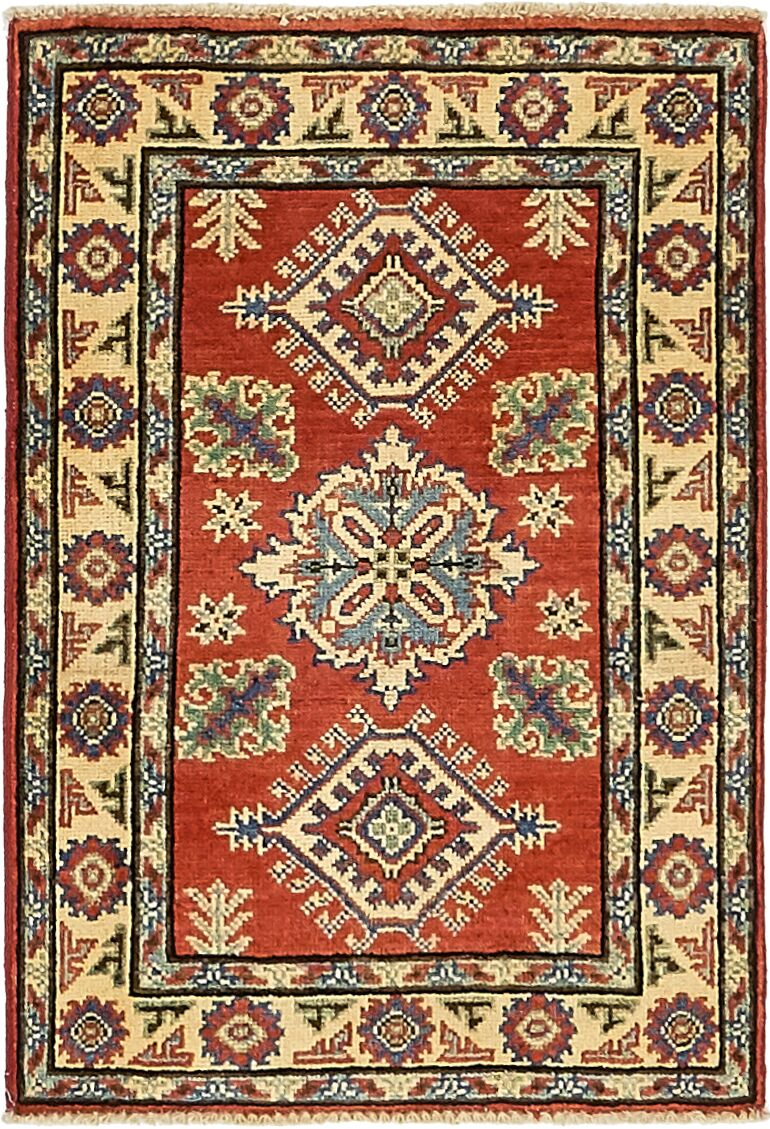 One-of-a-Kind Alayna Hand-Knotted 2' x 3' Wool Red Area Rug