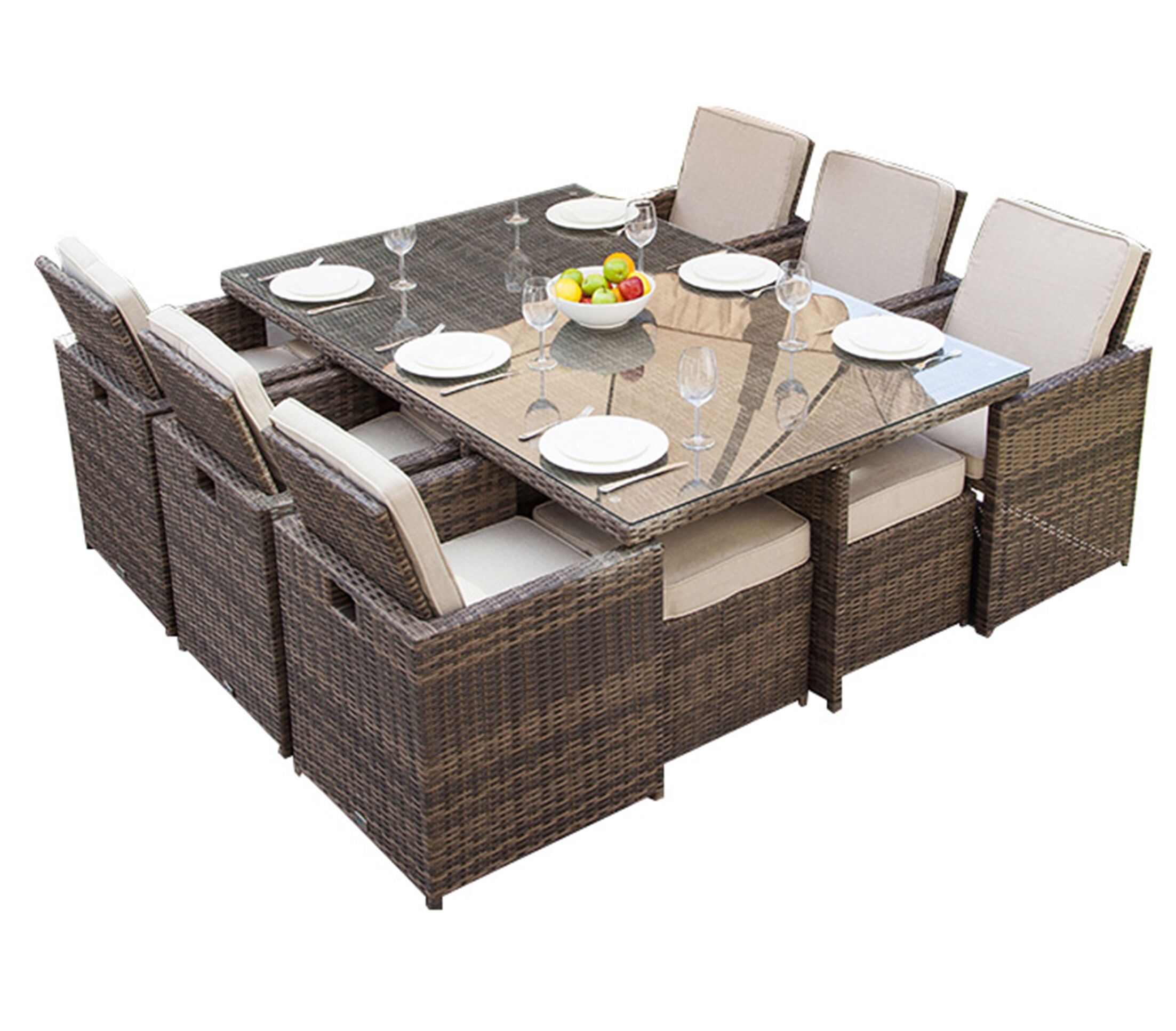 Leela 11 Piece Outdoor Patio Dining Set with Cushions
