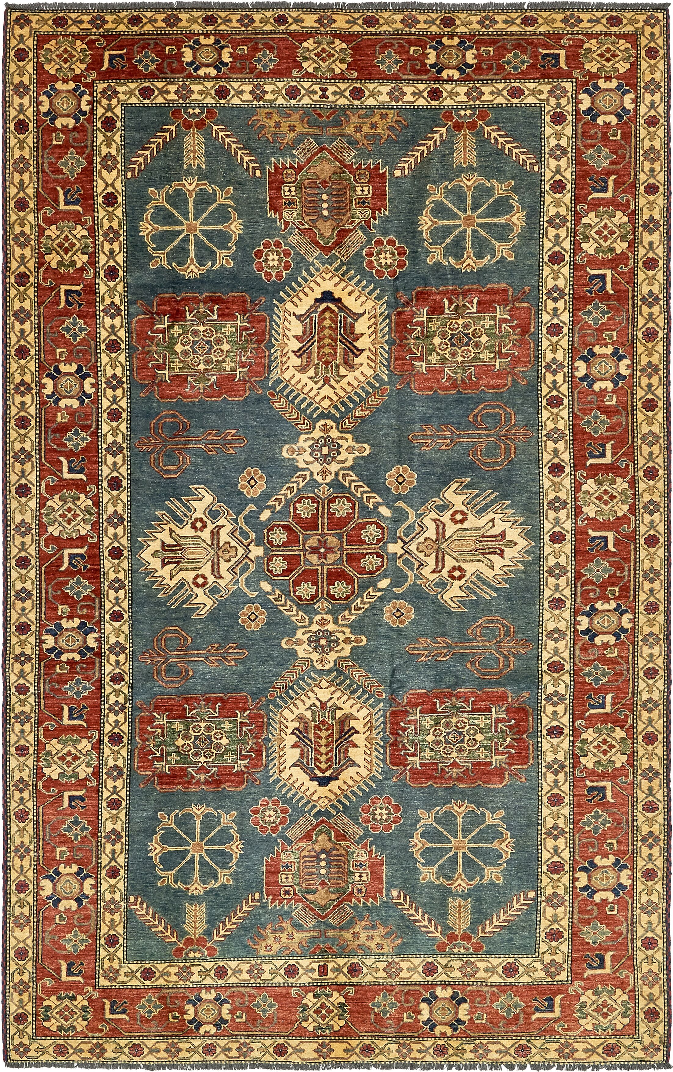 One-of-a-Kind Alayna Hand-Knotted Wool Red/Navy Area Rug