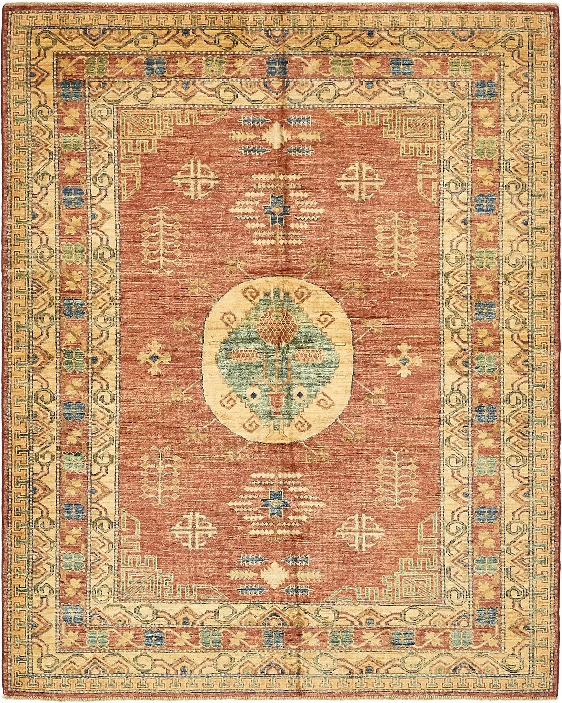 One-of-a-Kind Alayna Hand-Knotted Wool Yellow/Red Area Rug