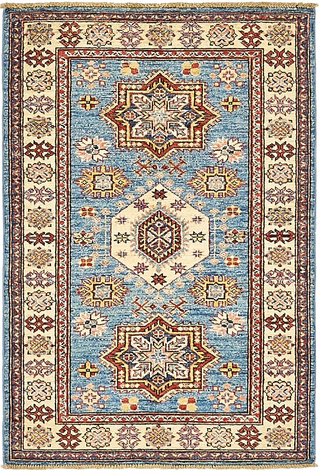 One-of-a-Kind Alayna Hand-Knotted Wool Blue/Beige Area Rug