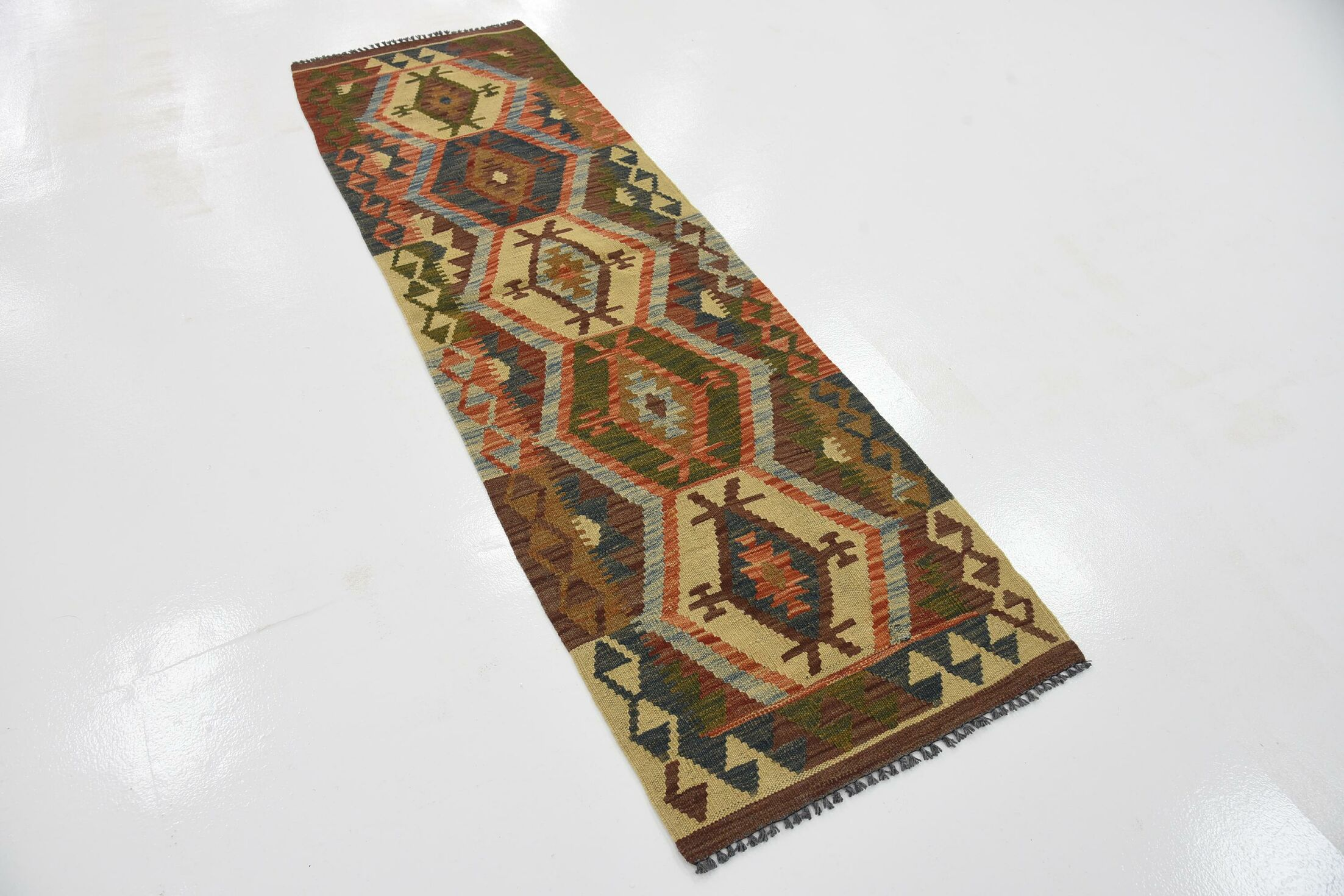 One-of-a-Kind Doorfield Hand-Knotted Wool  2' x 6'7