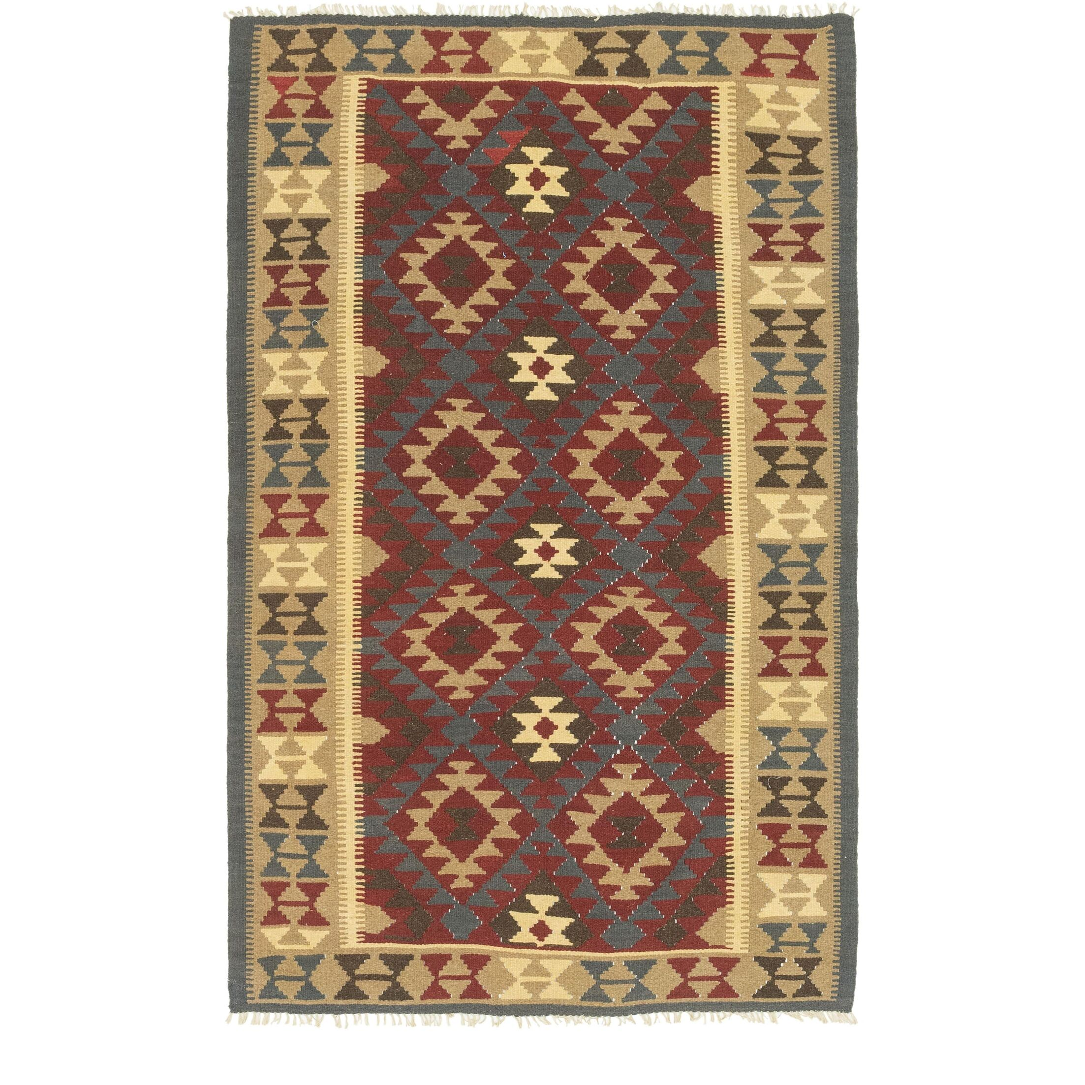 One-of-a-Kind Lorain Hand-Knotted 5' x 8' Wool Burgundy/Beige Area Rug