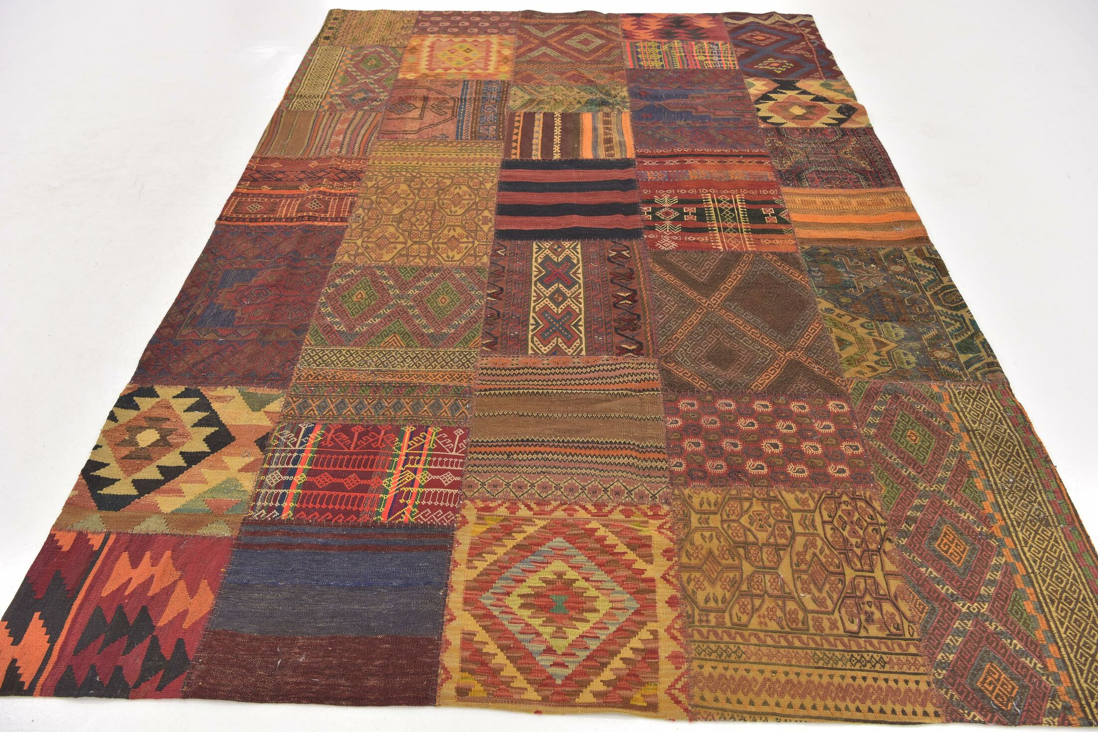 One-of-a-Kind Warrington Patchwork Hand-Knotted Wool Brown/Yellow Area Rug