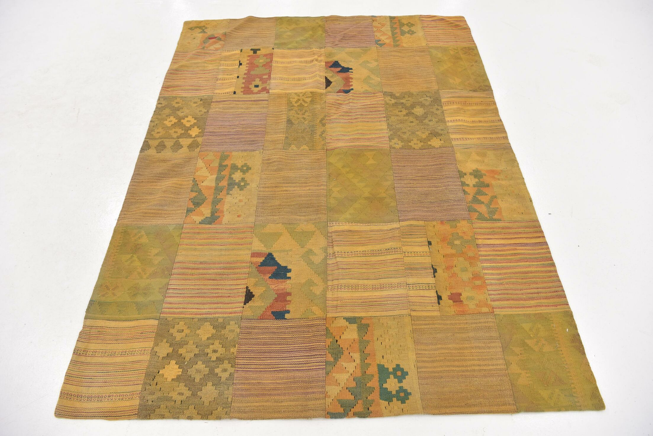 One-of-a-Kind Warrington Patchwork Hand-Knotted Wool Beige Area Rug