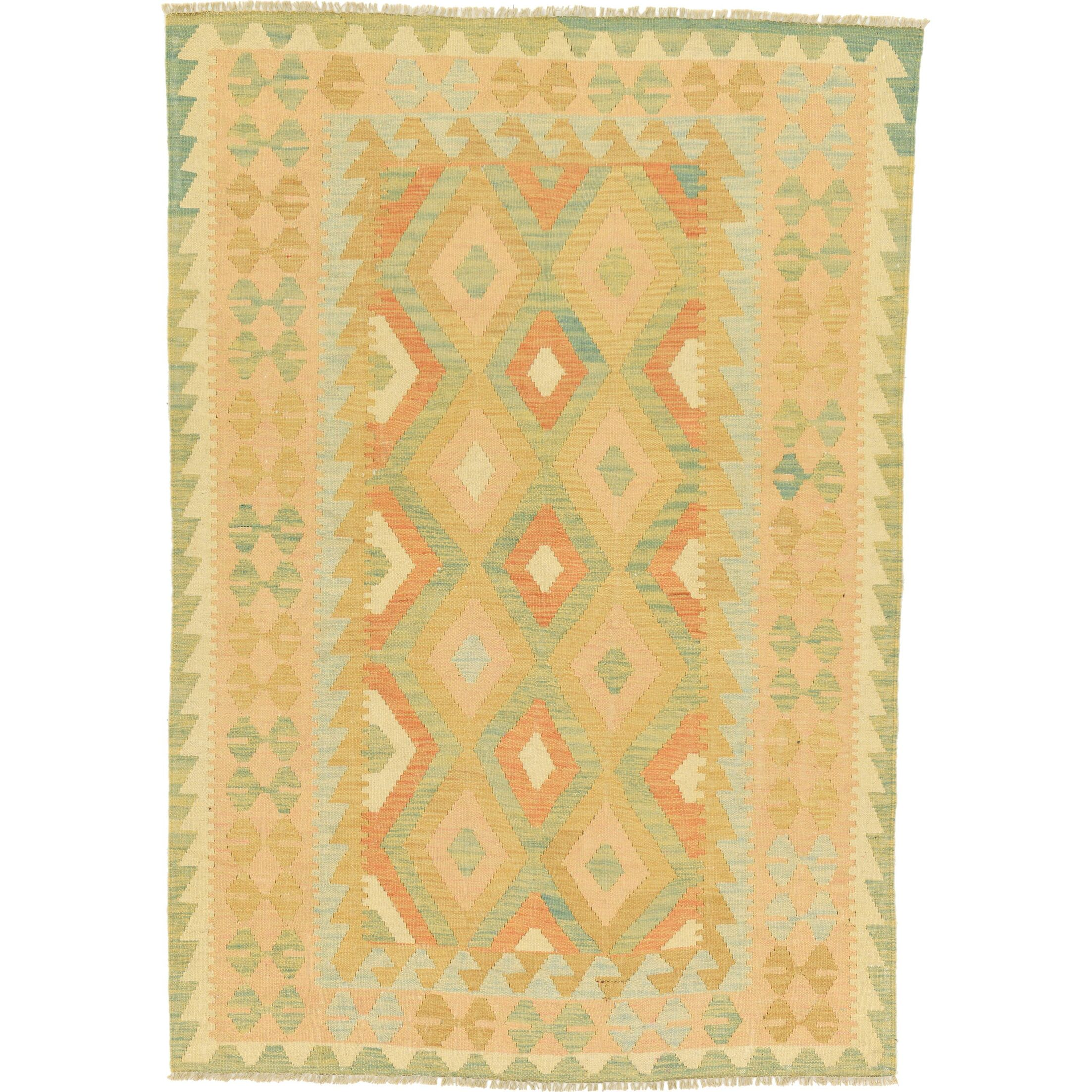 One-of-a-Kind Elland Hand-Knotted Wool Light Blue Area Rug