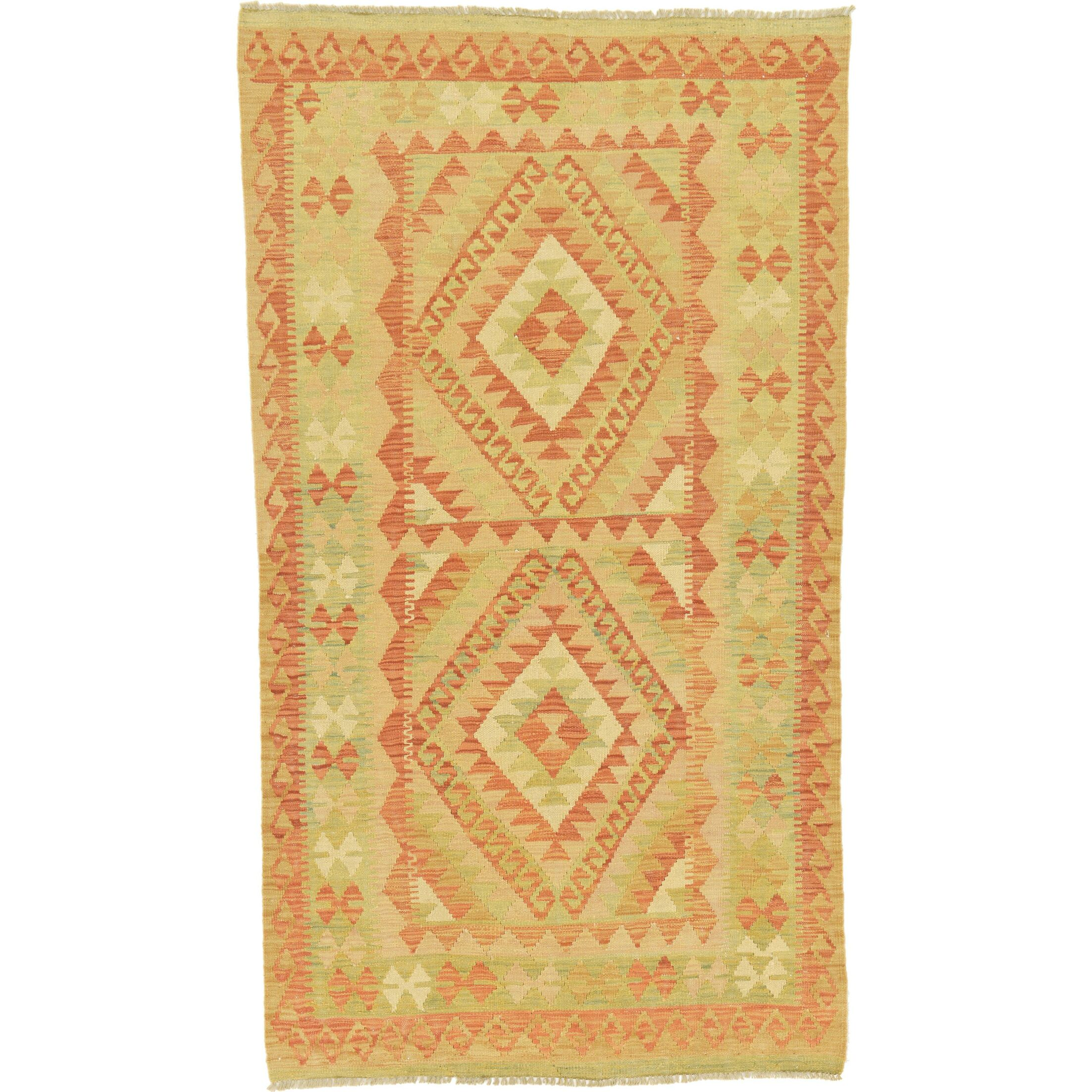 One-of-a-Kind Elland Hand-Knotted Wool Rust Red/Green Area Rug