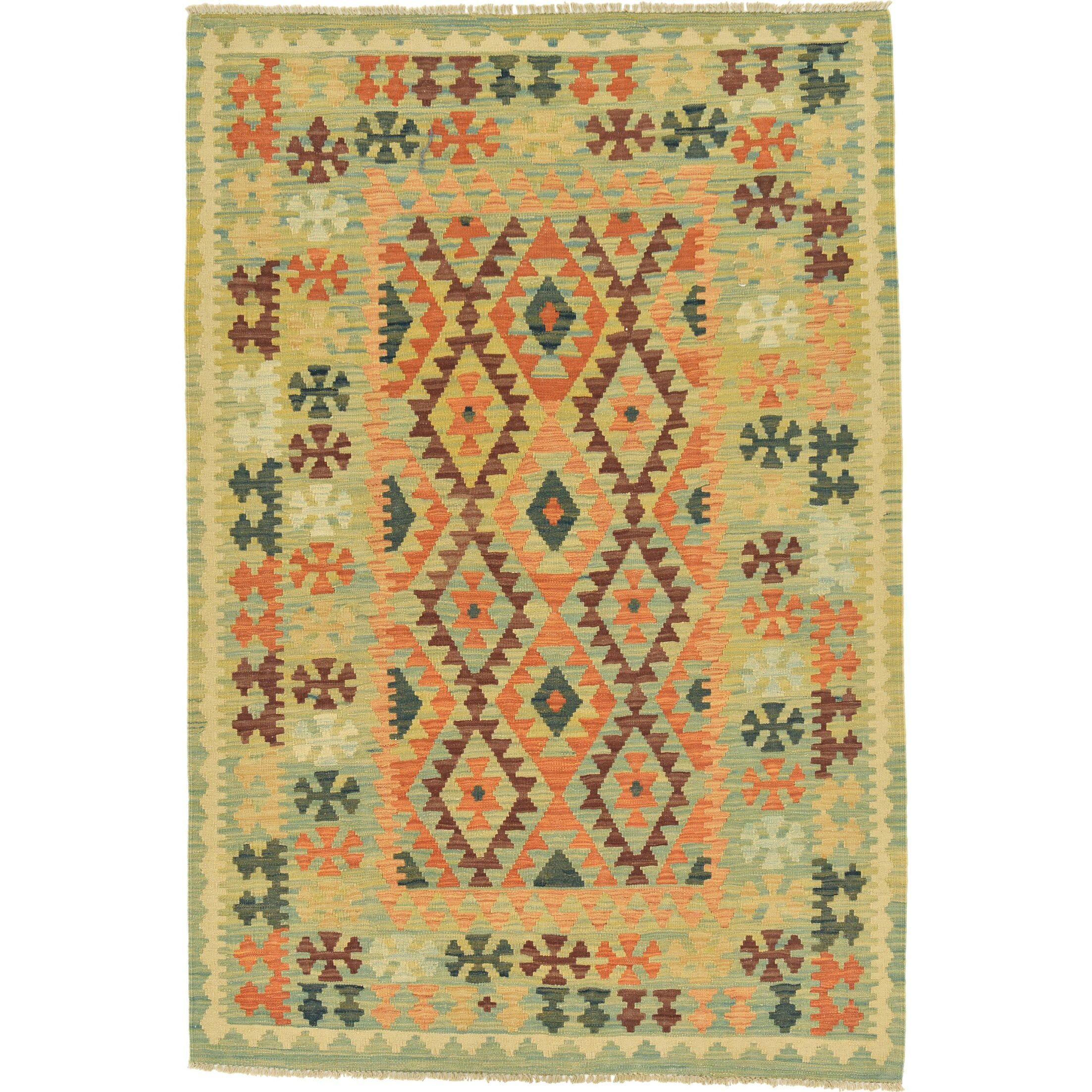 One-of-a-Kind Elland Hand-Knotted Wool Light Blue/Orange Area Rug