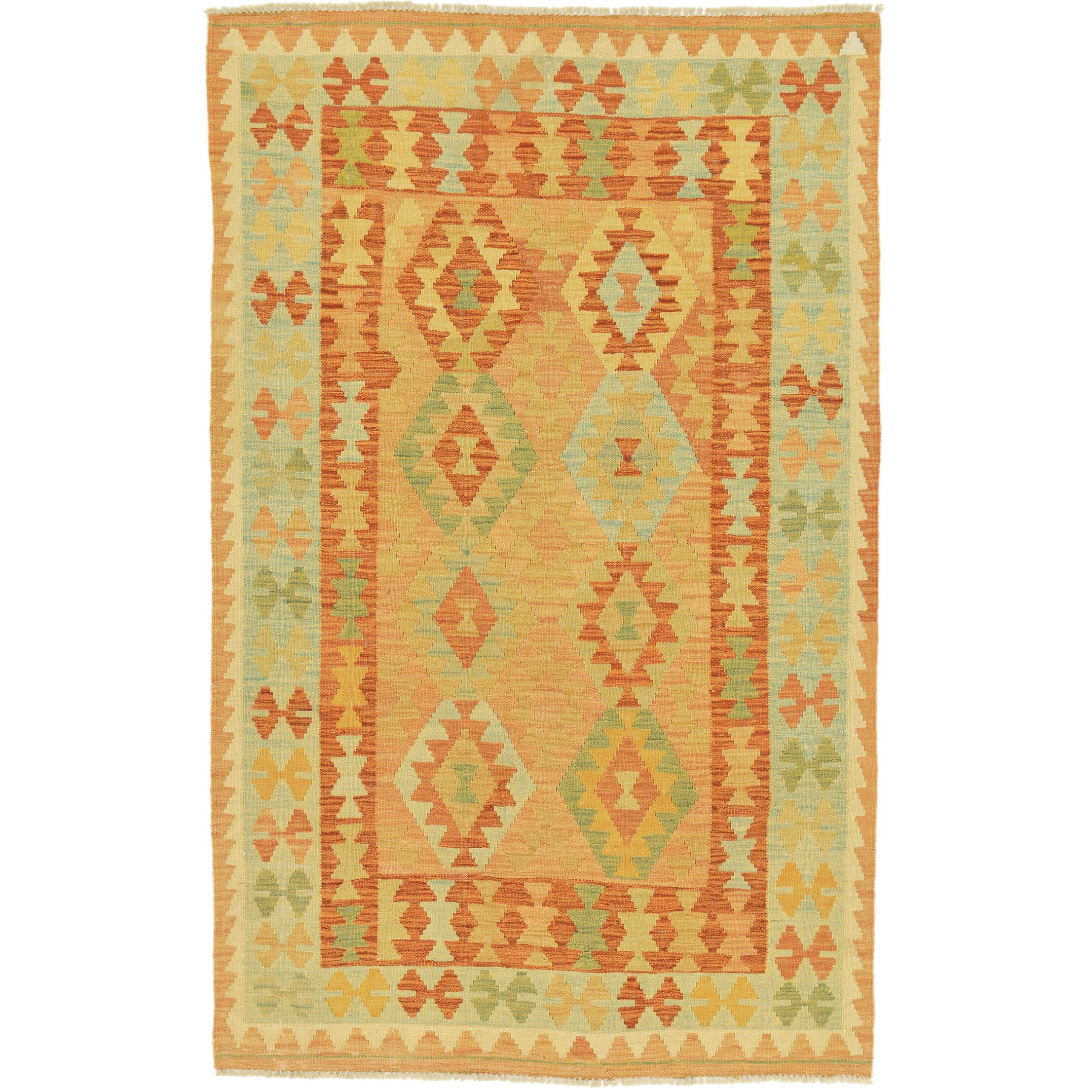 One-of-a-Kind Elland Hand-Knotted Wool Red/Green/Orange Area Rug