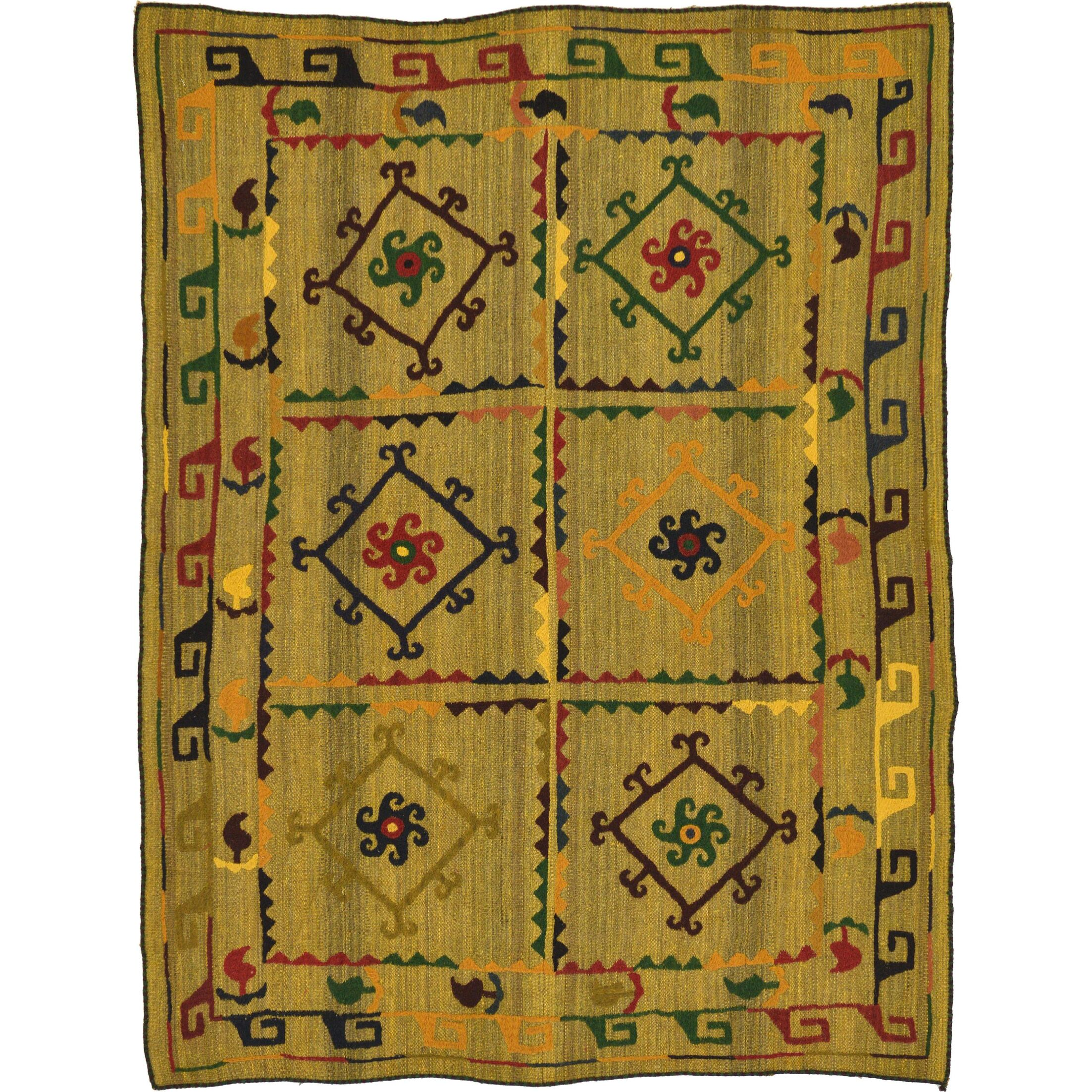 One-of-a-Kind Watchet Hand-Knotted Wool Olive/Black/Red Area Rug