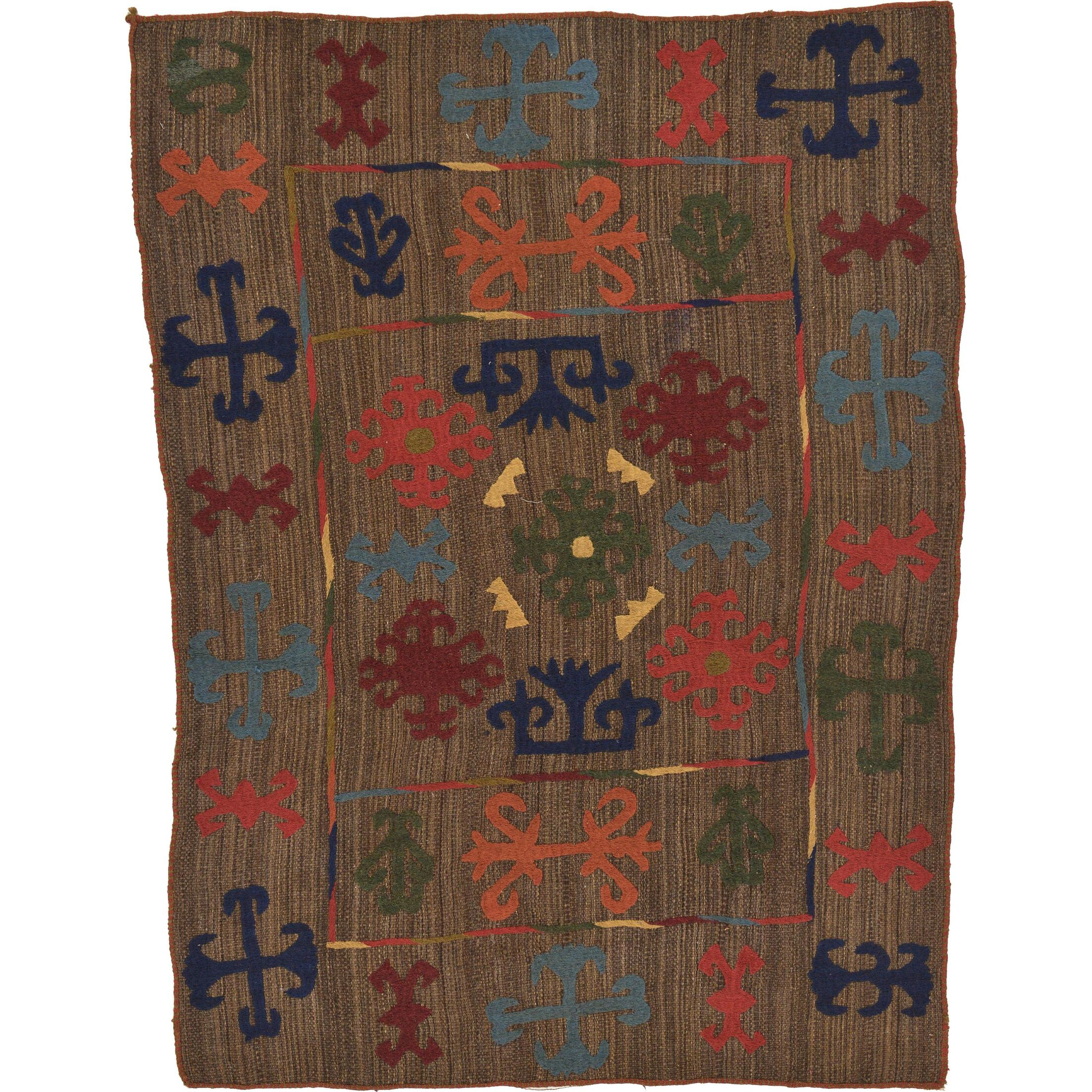 One-of-a-Kind Watchet Hand-Knotted Wool Brown Area Rug