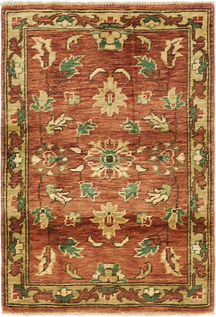 One-of-a-Kind Huntingdon Hand-Knotted  2' x 3' Wool Rust Red/Brown Area Rug